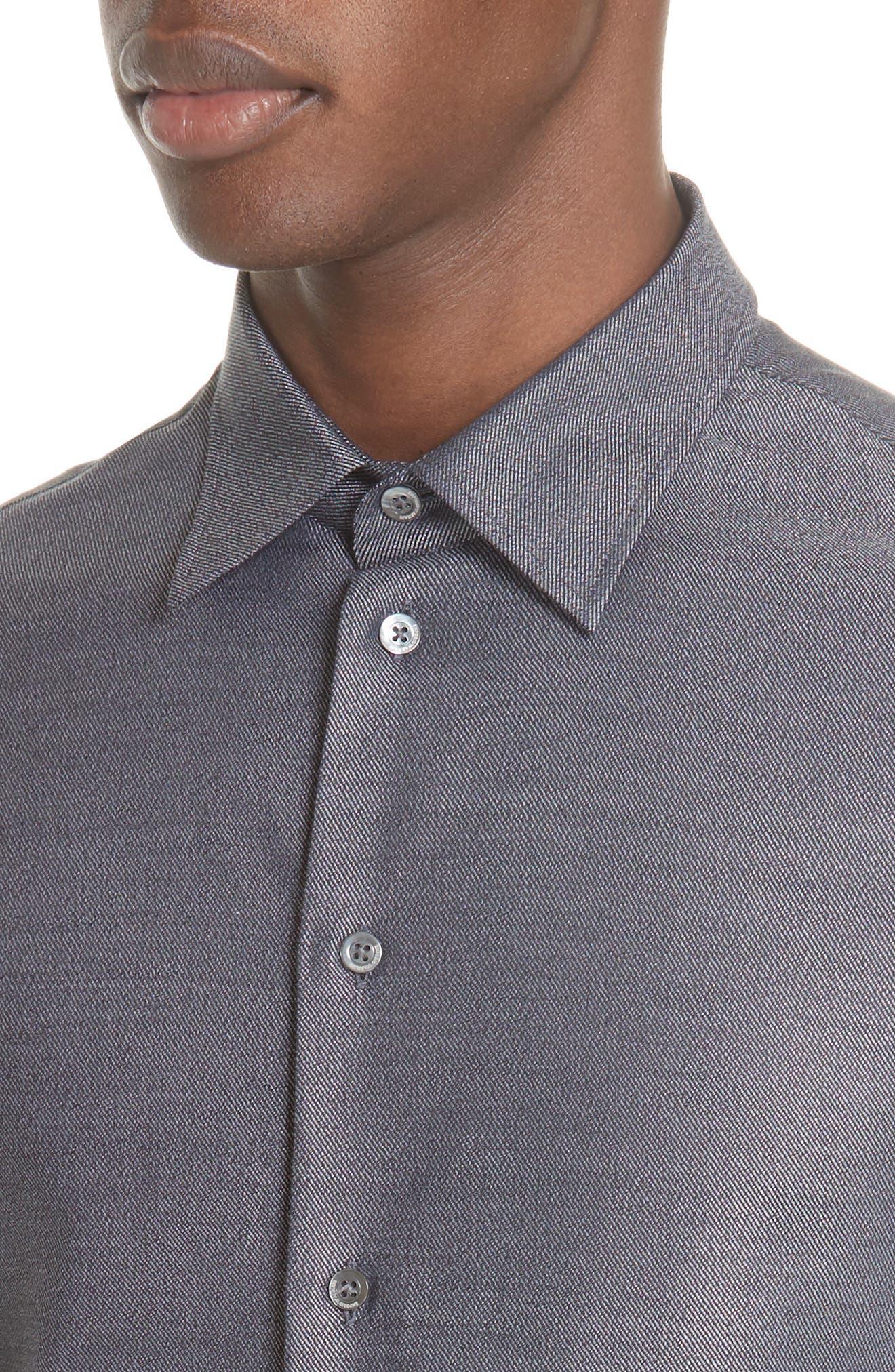 Regular Fit Twill Sport Shirt,                             Alternate thumbnail 4, color,                             GREY MULTI