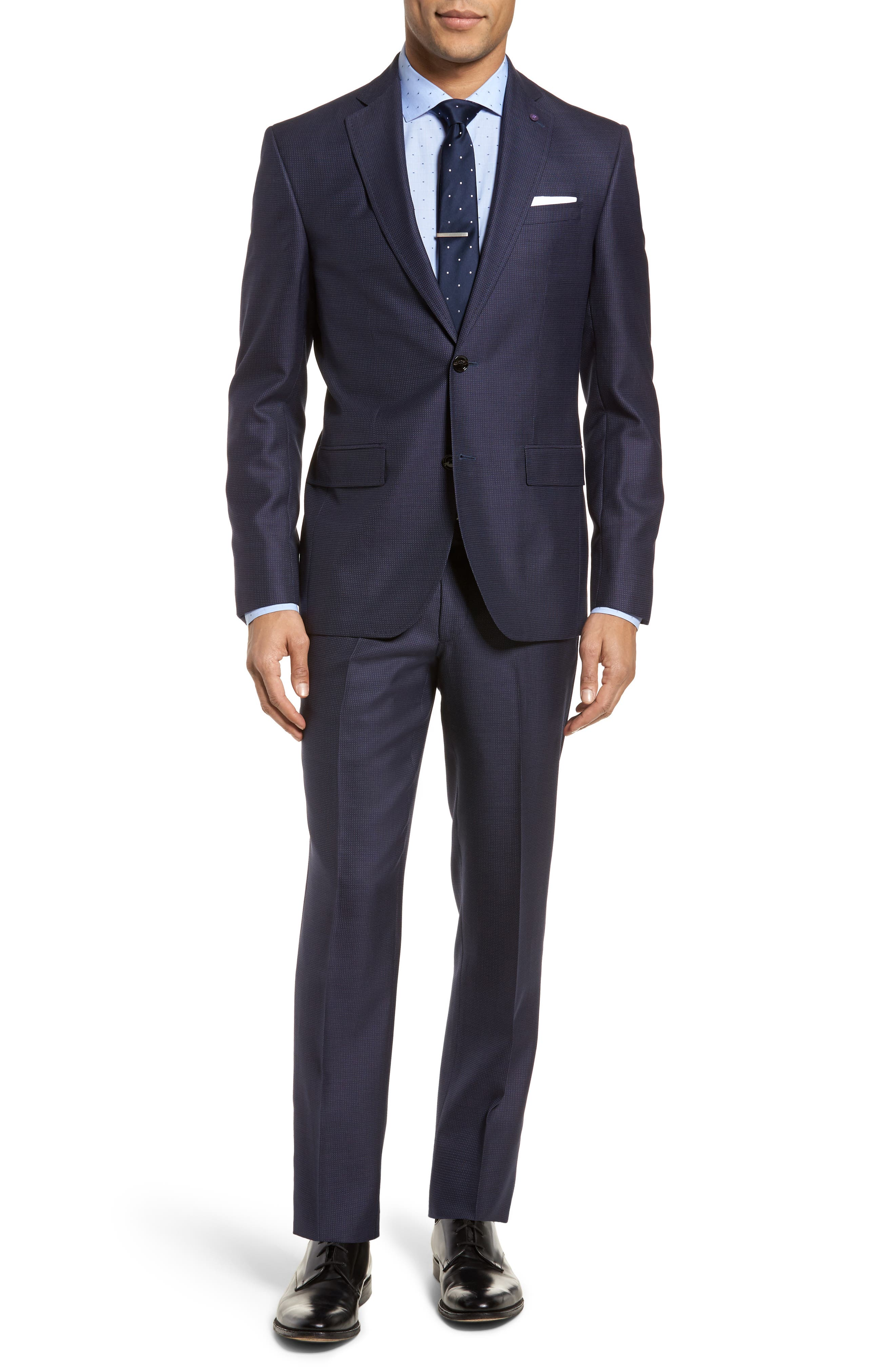 Roger Extra Slim Fit Solid Wool Suit,                             Main thumbnail 1, color,                             410