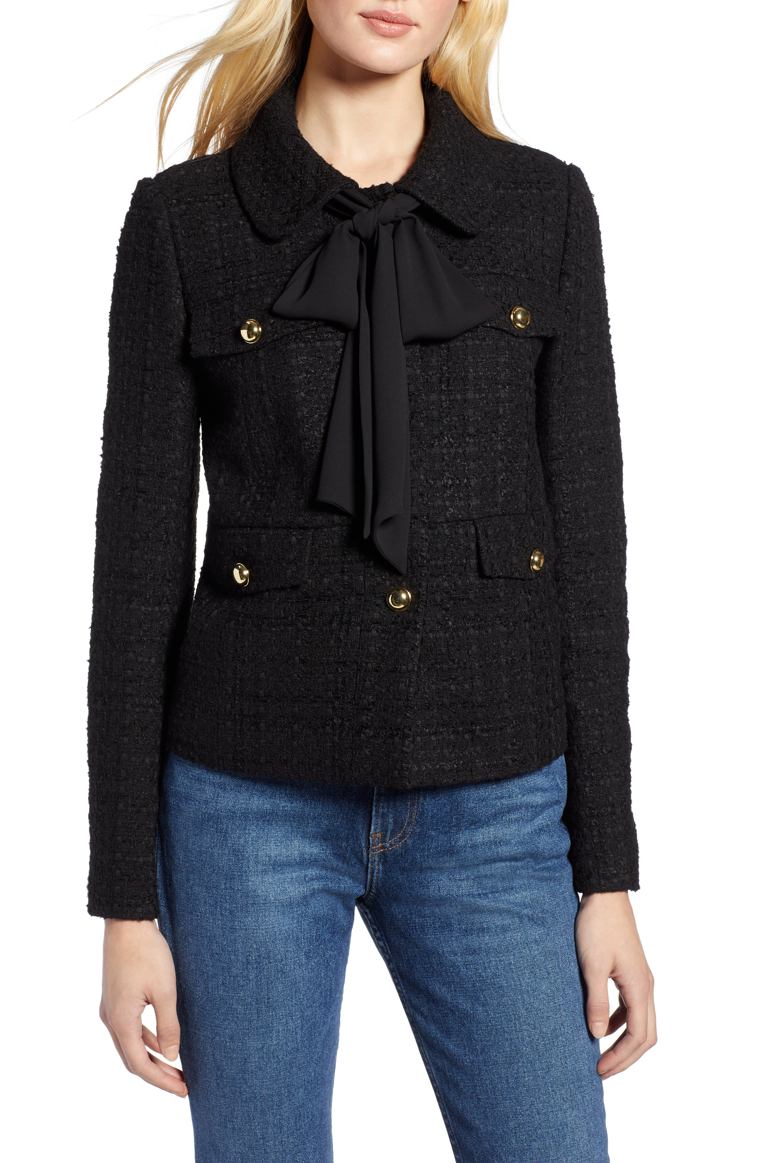 x Atlantic-Pacific Bow Detail Tweed Jacket, Main, color, BLACK