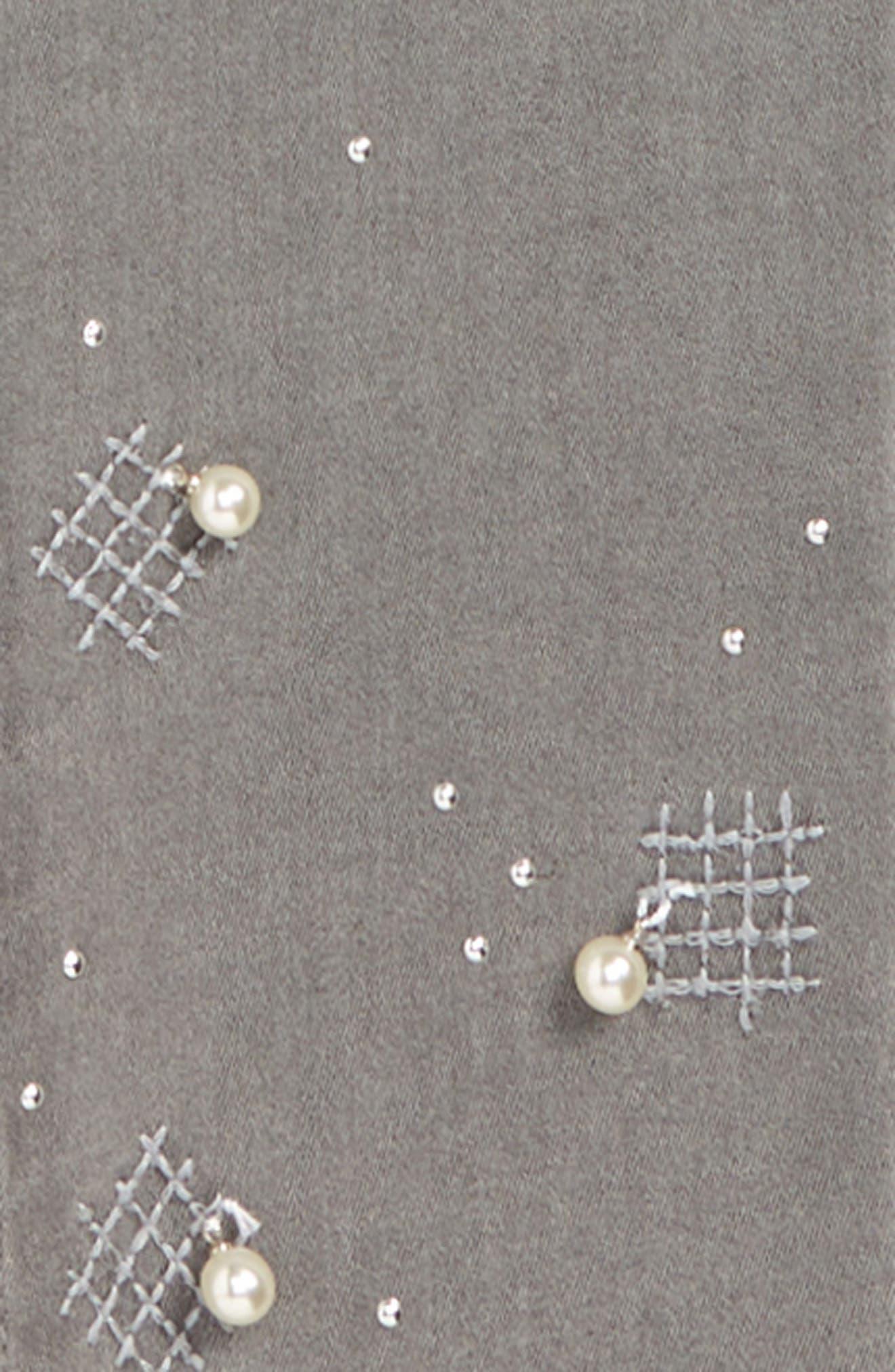 Embellished Crop Jeans,                             Alternate thumbnail 3, color,                             GREY