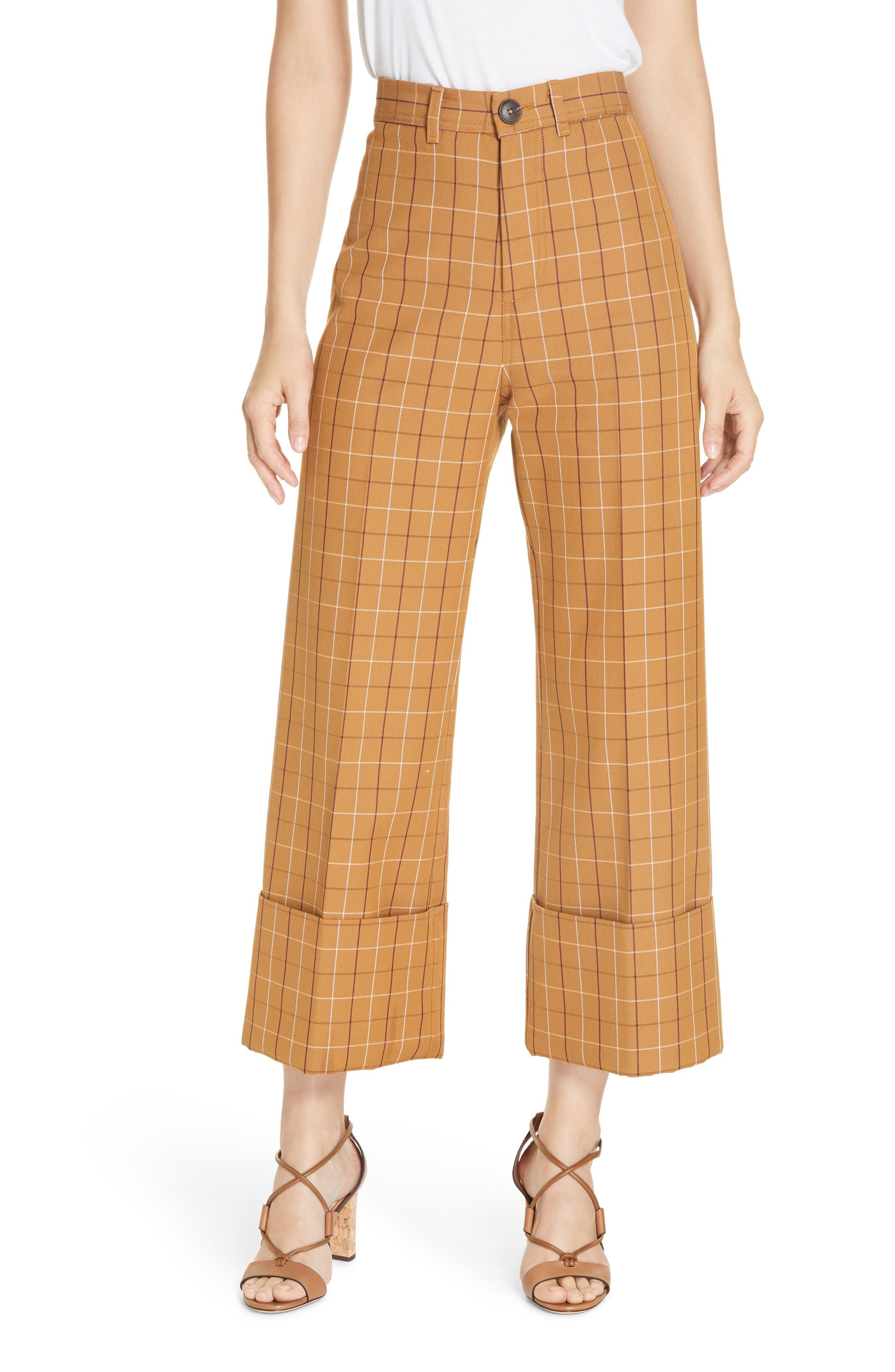 SEA Poirot Plaid Cuff Pants, Main, color, CARAMEL MULTI