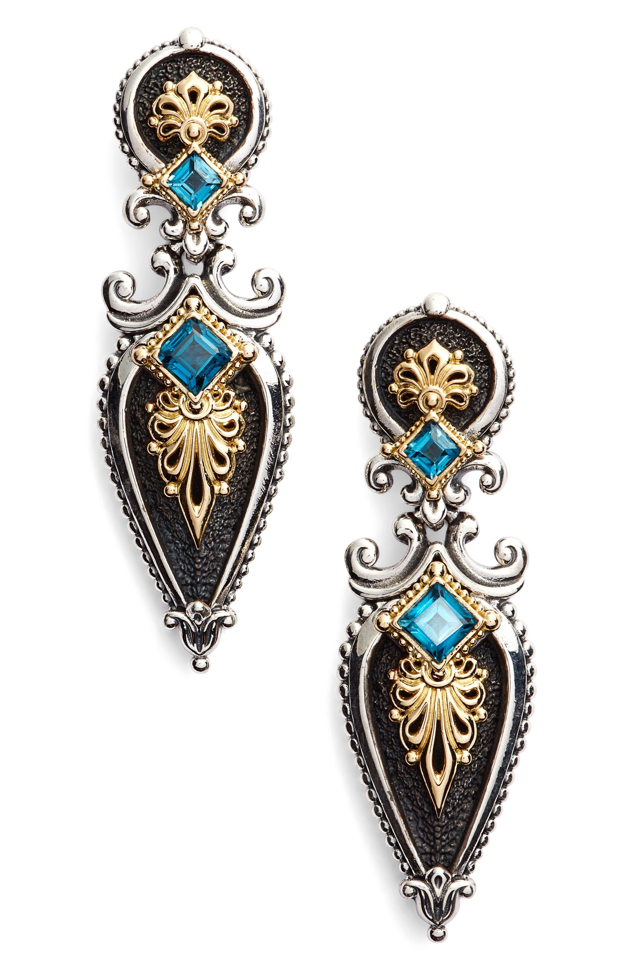 Drop Earrings,                         Main,                         color, LONDON BLUE TOPAZ