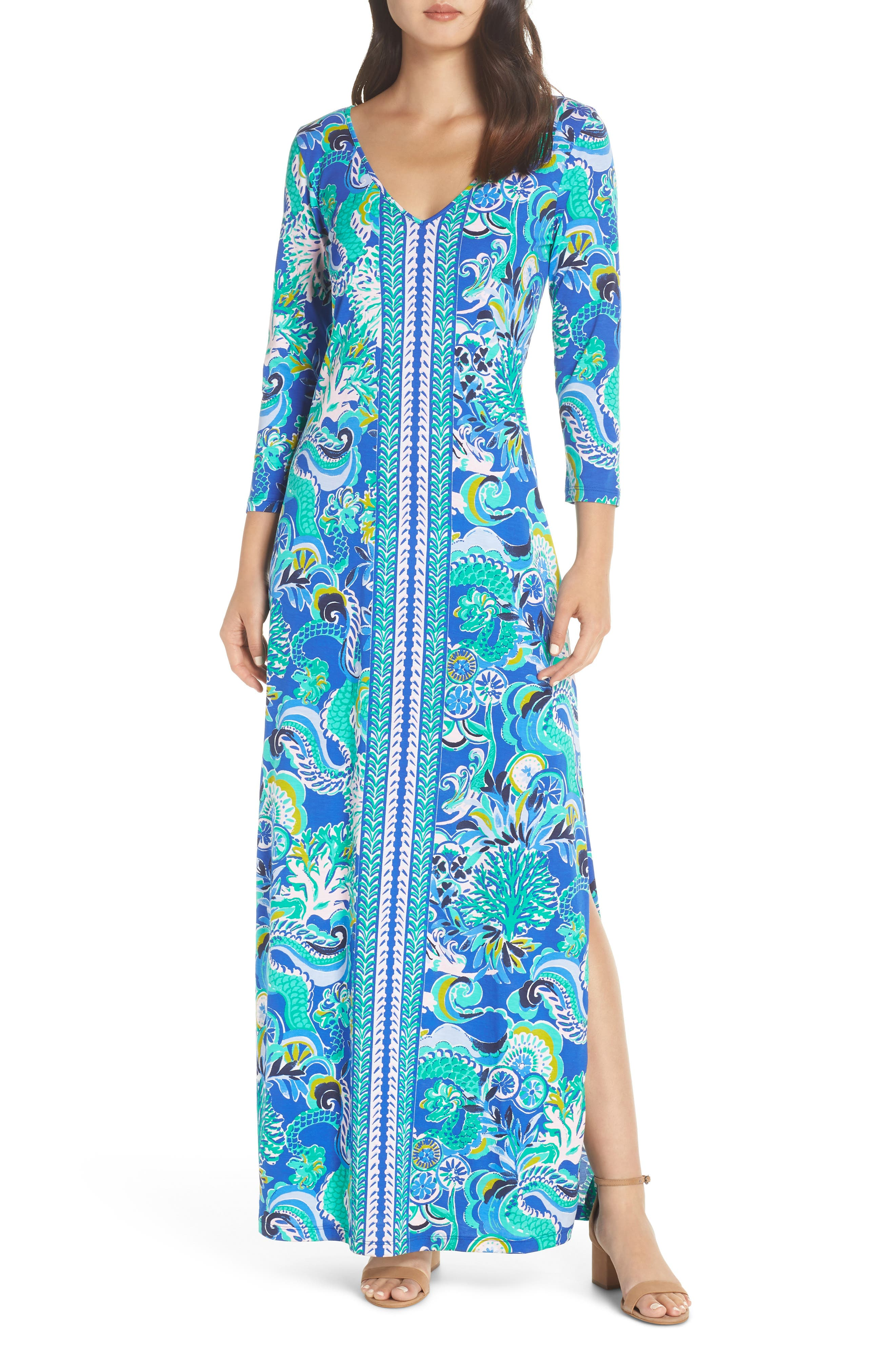 Anissa Maxi Dress, Main, color, BLUE GROTTO SIRENS AND SPIRITS