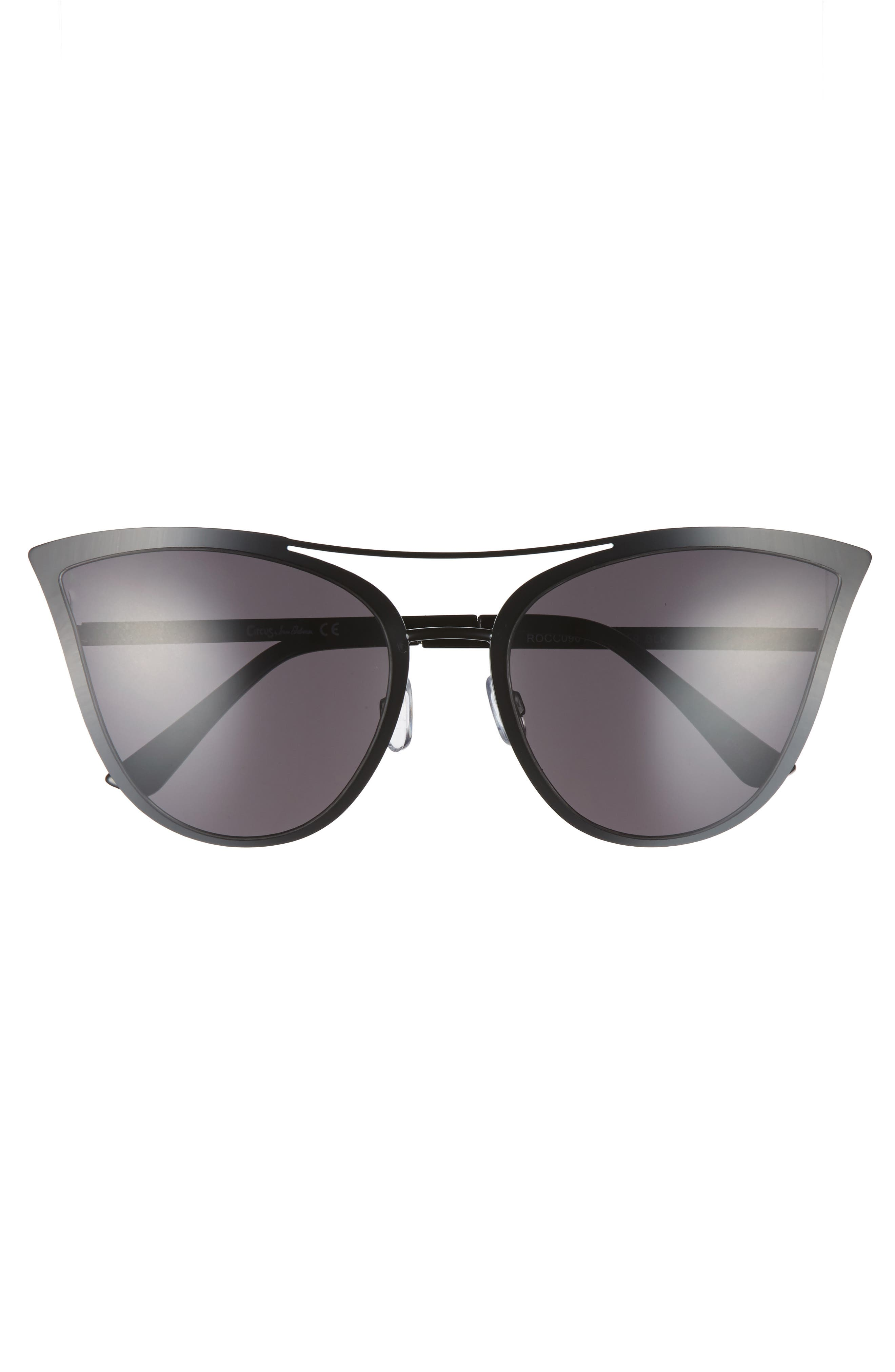 61mm Metal Cat Eye Sunglasses,                             Alternate thumbnail 3, color,                             001