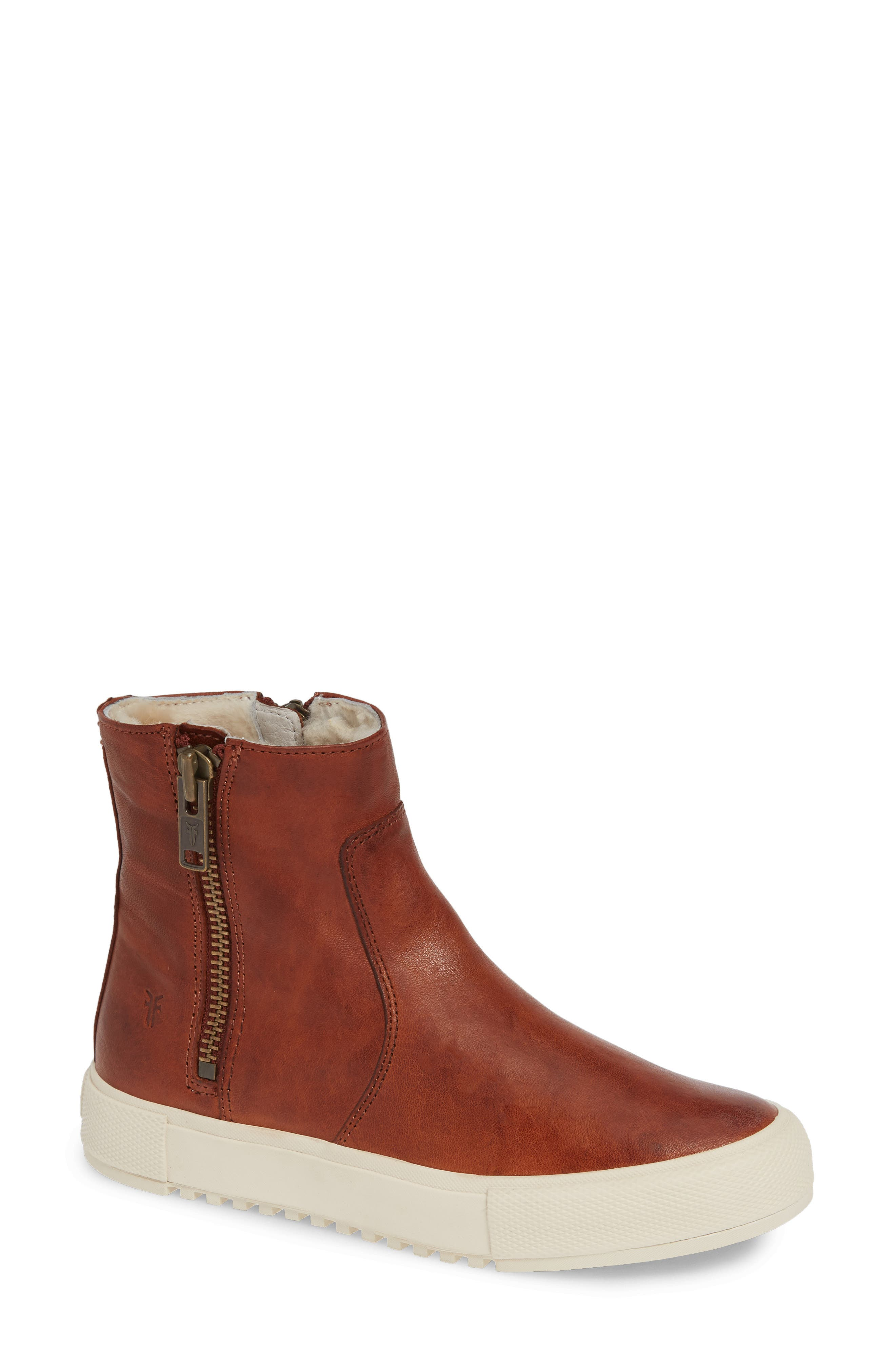 Gia Genuine Shearling Lined Bootie in Cognac Leather