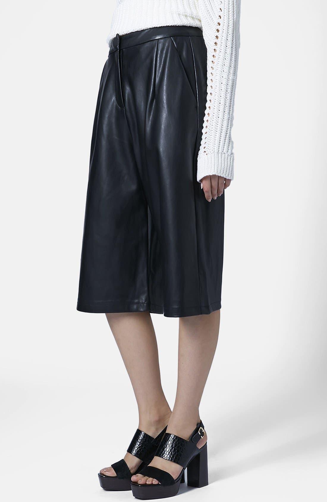 Faux Leather Culottes,                             Main thumbnail 1, color,                             001