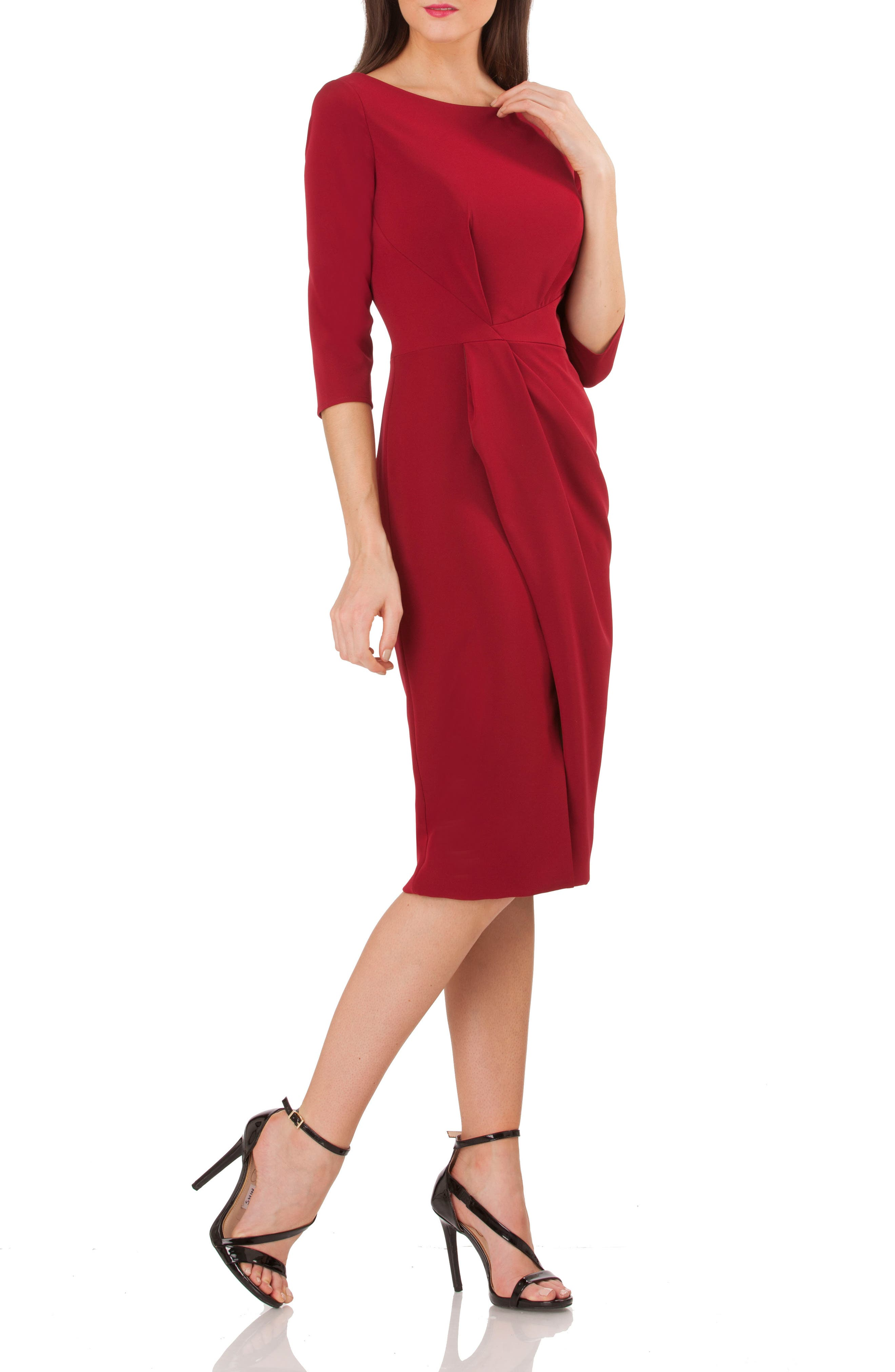 Pleated Crepe Sheath Dress,                             Main thumbnail 1, color,                             DARK CHERRY