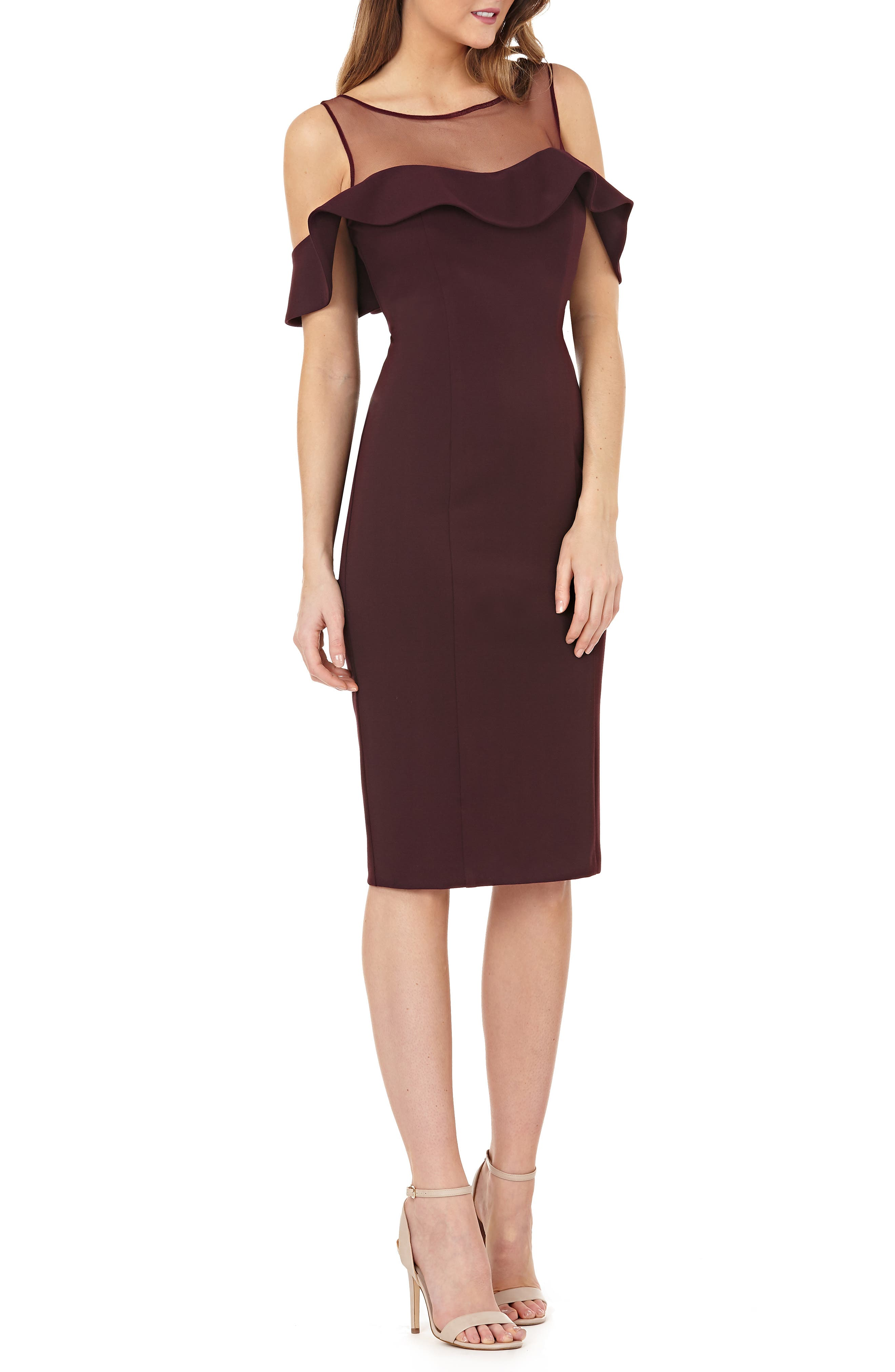 Js Collections Illusion Neck Ruffle Sleeve Cocktail Dress, Burgundy