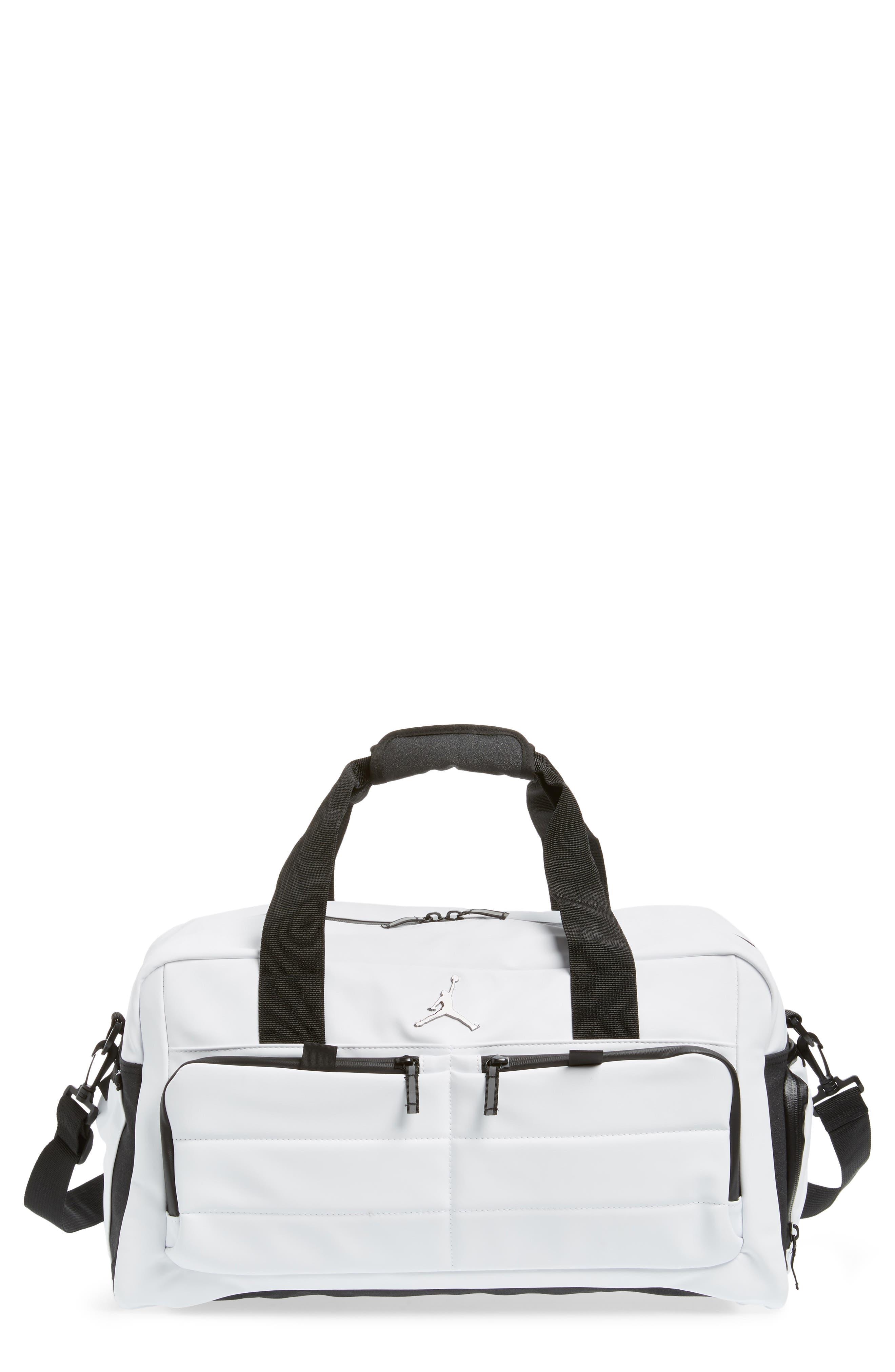 Jordan All World Edition Duffel Bag,                             Main thumbnail 1, color,                             WHITE