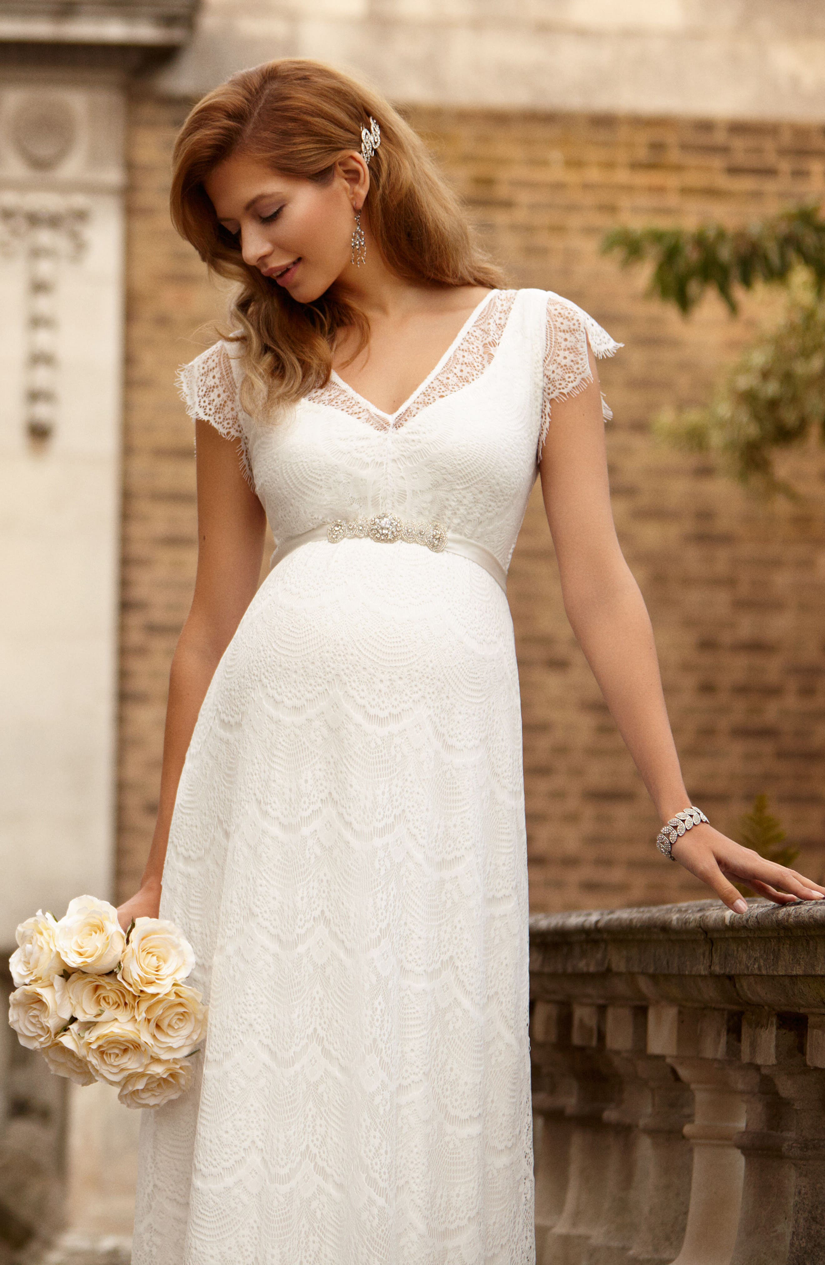 Kristin Long Lace Maternity Gown,                             Alternate thumbnail 6, color,                             IVORY