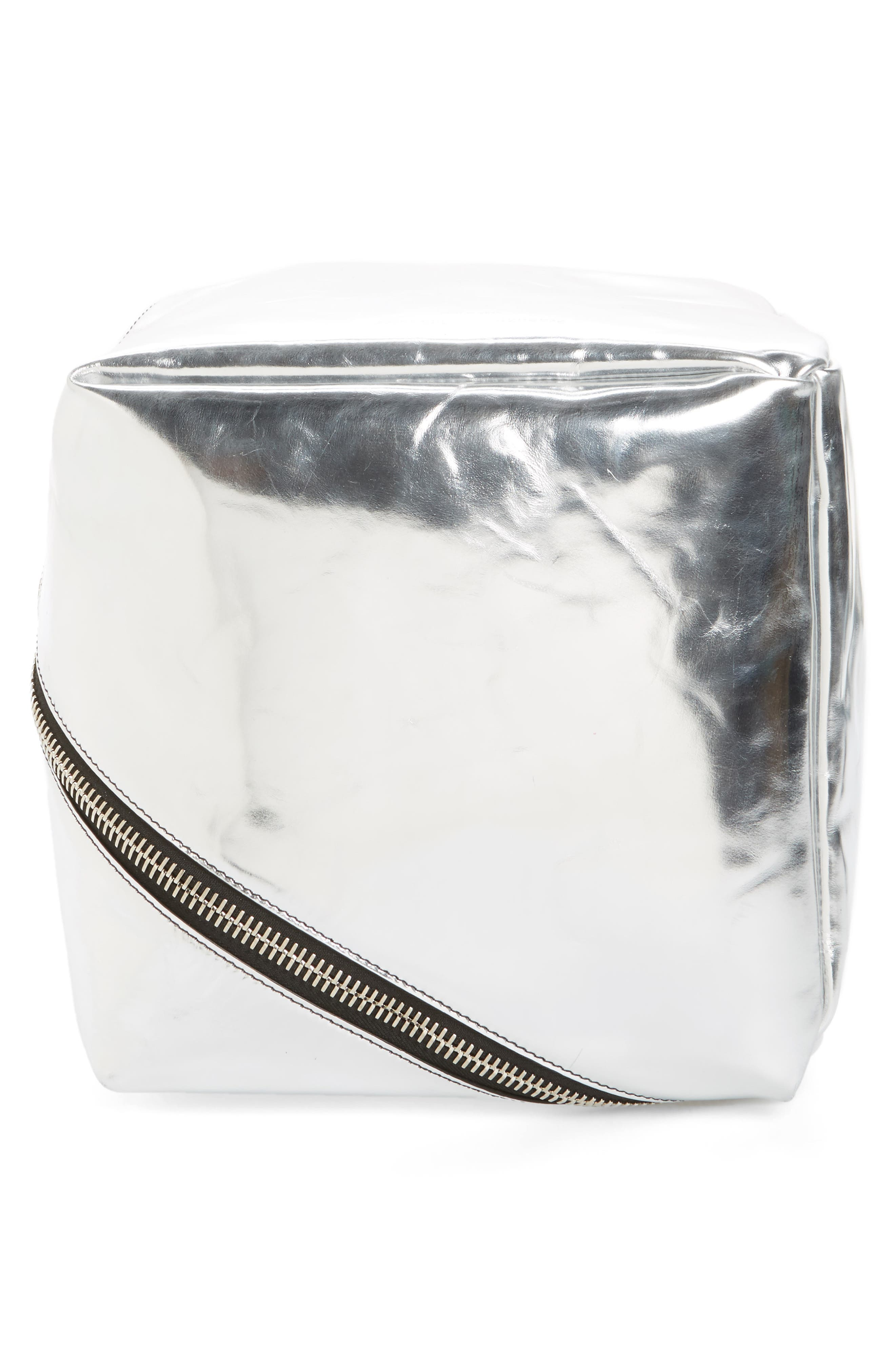 Soft Metallic Leather Cube Bag,                             Alternate thumbnail 3, color,