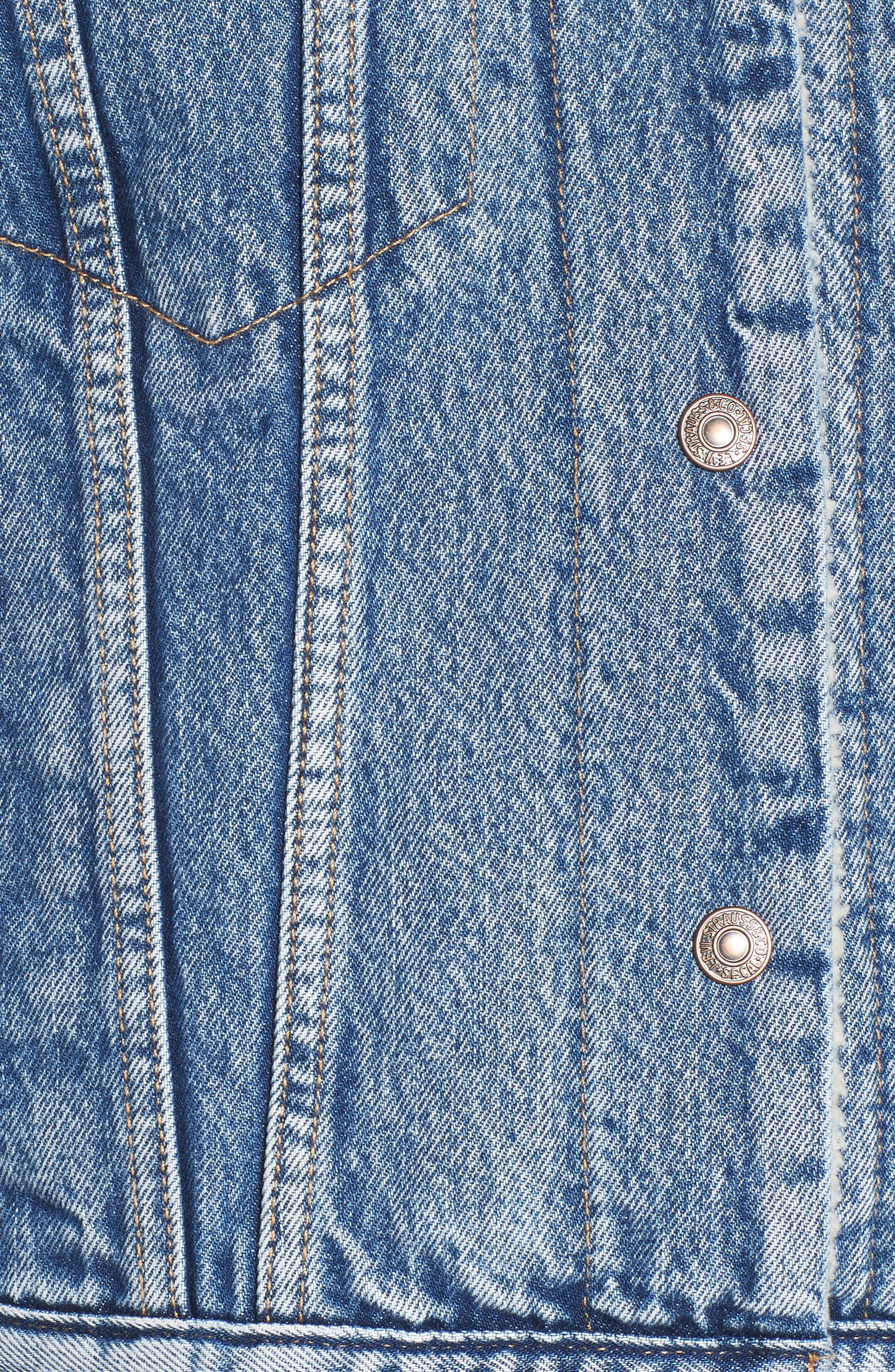 Ex-Boyfriend Fleece Lined Denim Jacket,                             Alternate thumbnail 7, color,                             ADDICTED TO LOVE