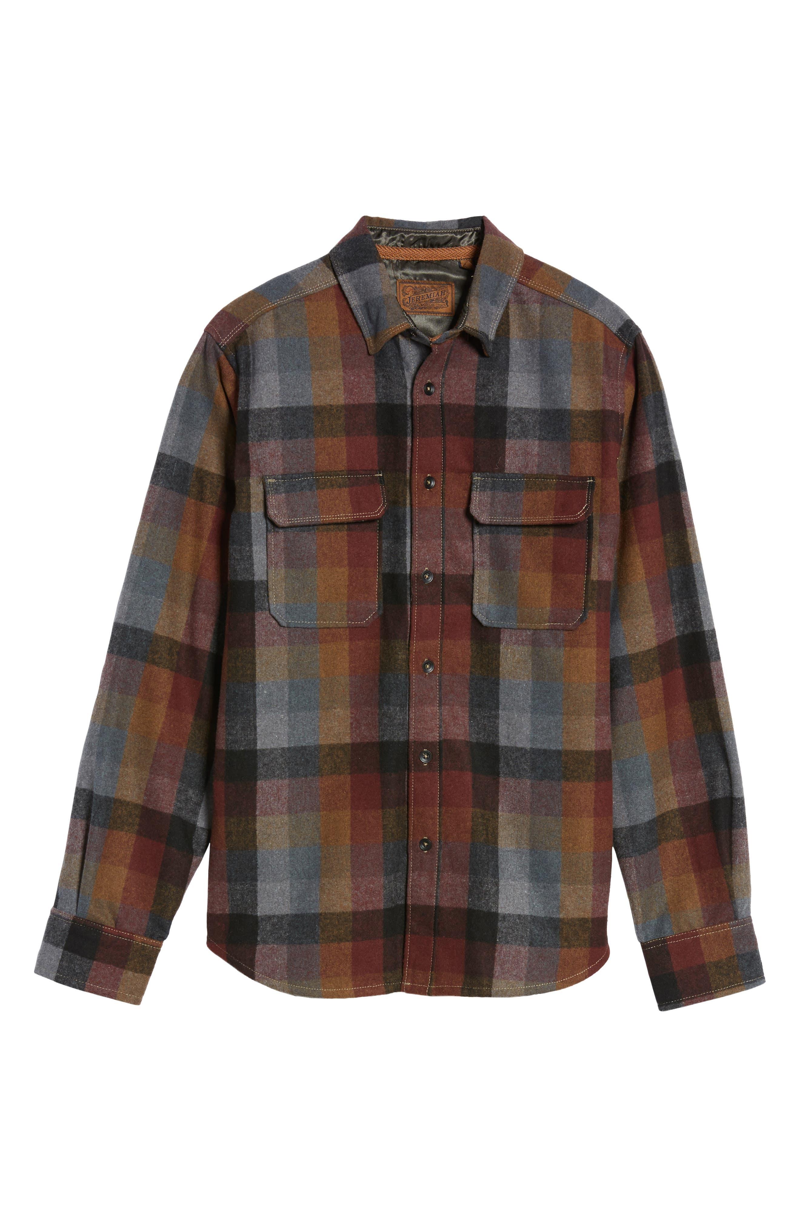 Heath Brushed Flannel Shirt,                             Alternate thumbnail 6, color,                             BURGUNDY