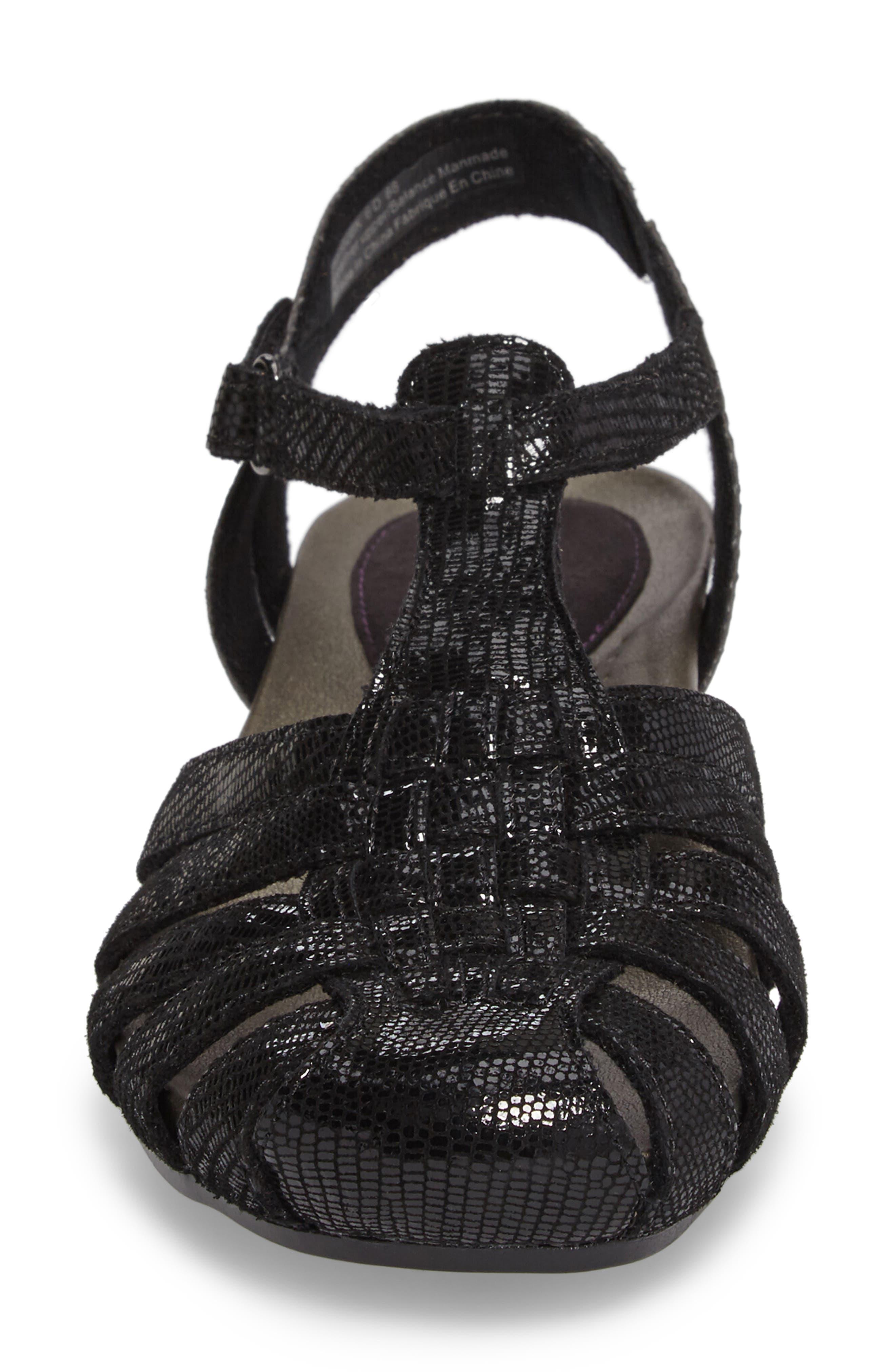 Standon Wedge Sandal,                             Alternate thumbnail 4, color,                             BLACK FABRIC