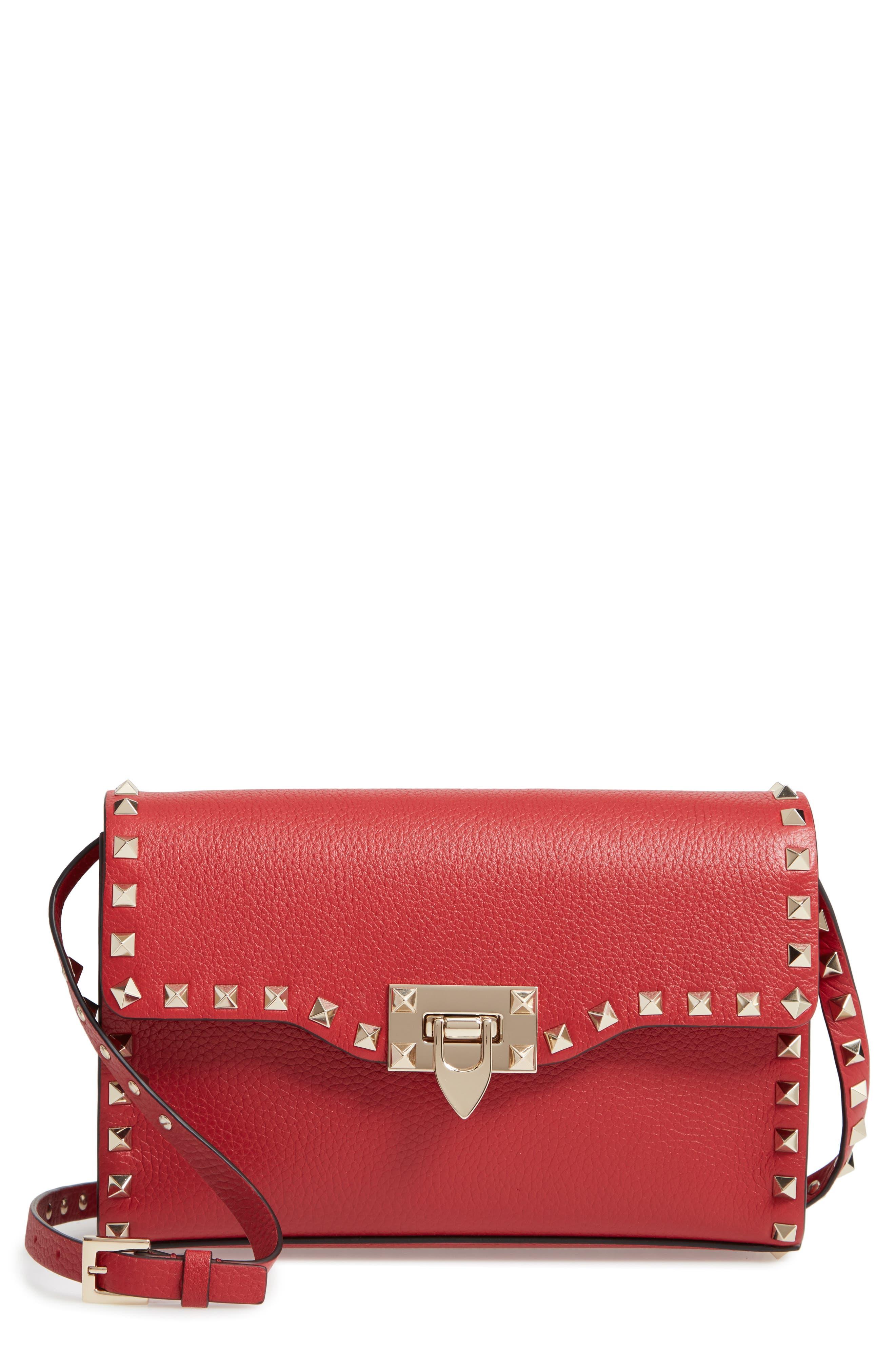 Medium Rockstud Leather Crossbody Bag,                             Main thumbnail 1, color,                             ROSSO V