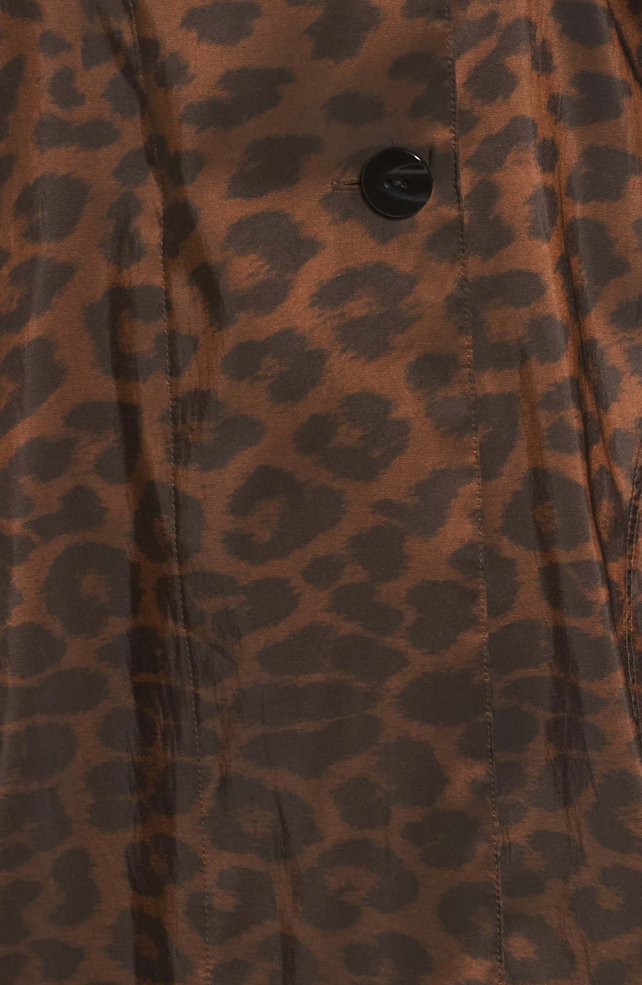 'Mini Donatella Leopard' Reversible Pleat Hood Packable Travel Coat,                             Alternate thumbnail 6, color,                             202