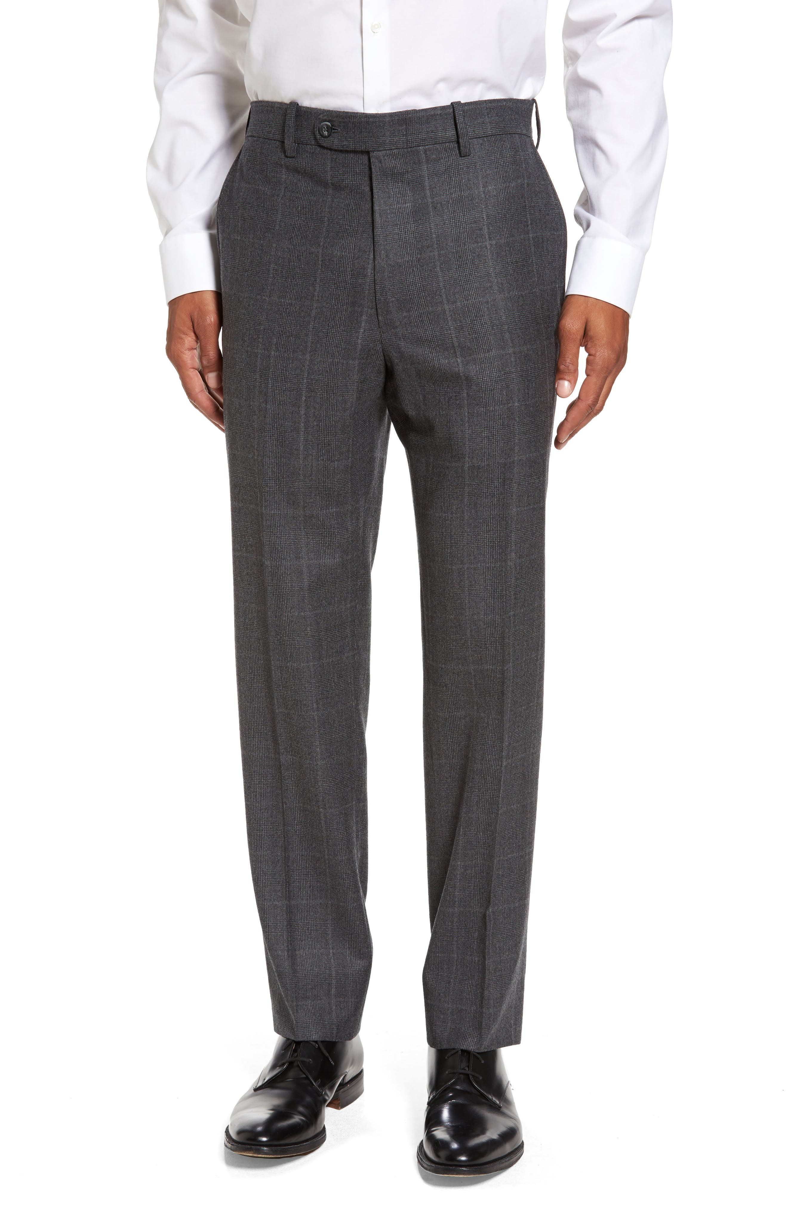 Flat Front Plaid Wool Trousers,                         Main,                         color, 032
