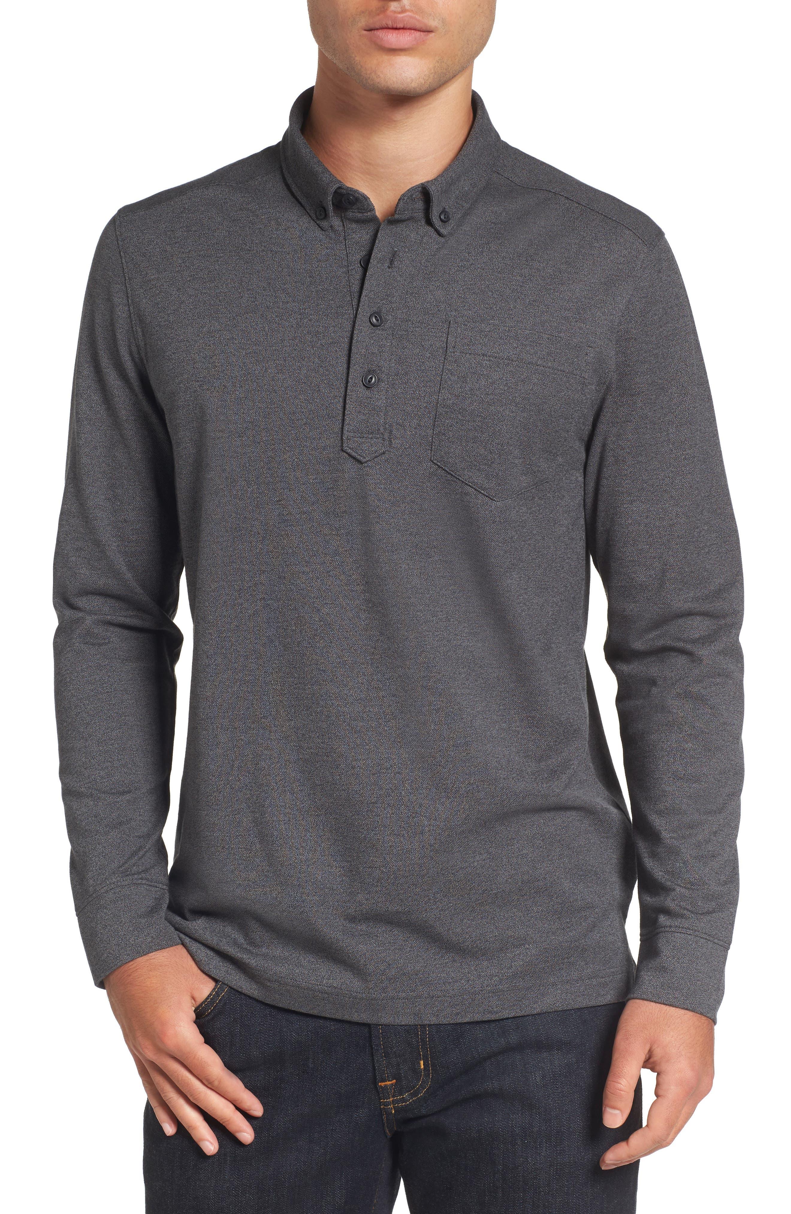 Long Sleeve Polo,                         Main,                         color, BLACK CAVIAR MELANGE