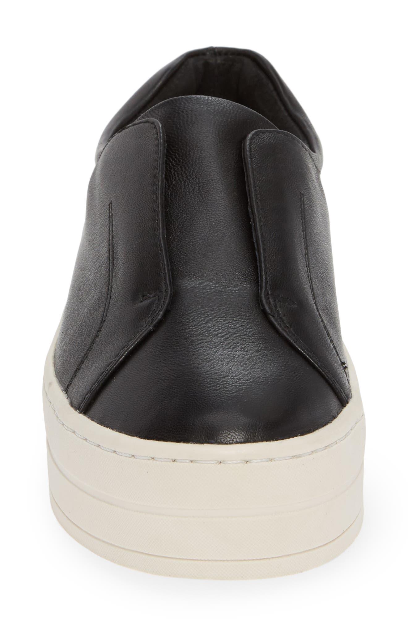 JSLIDES,                             Heidi Platform Slip-On Sneaker,                             Alternate thumbnail 4, color,                             BLACK LEATHER