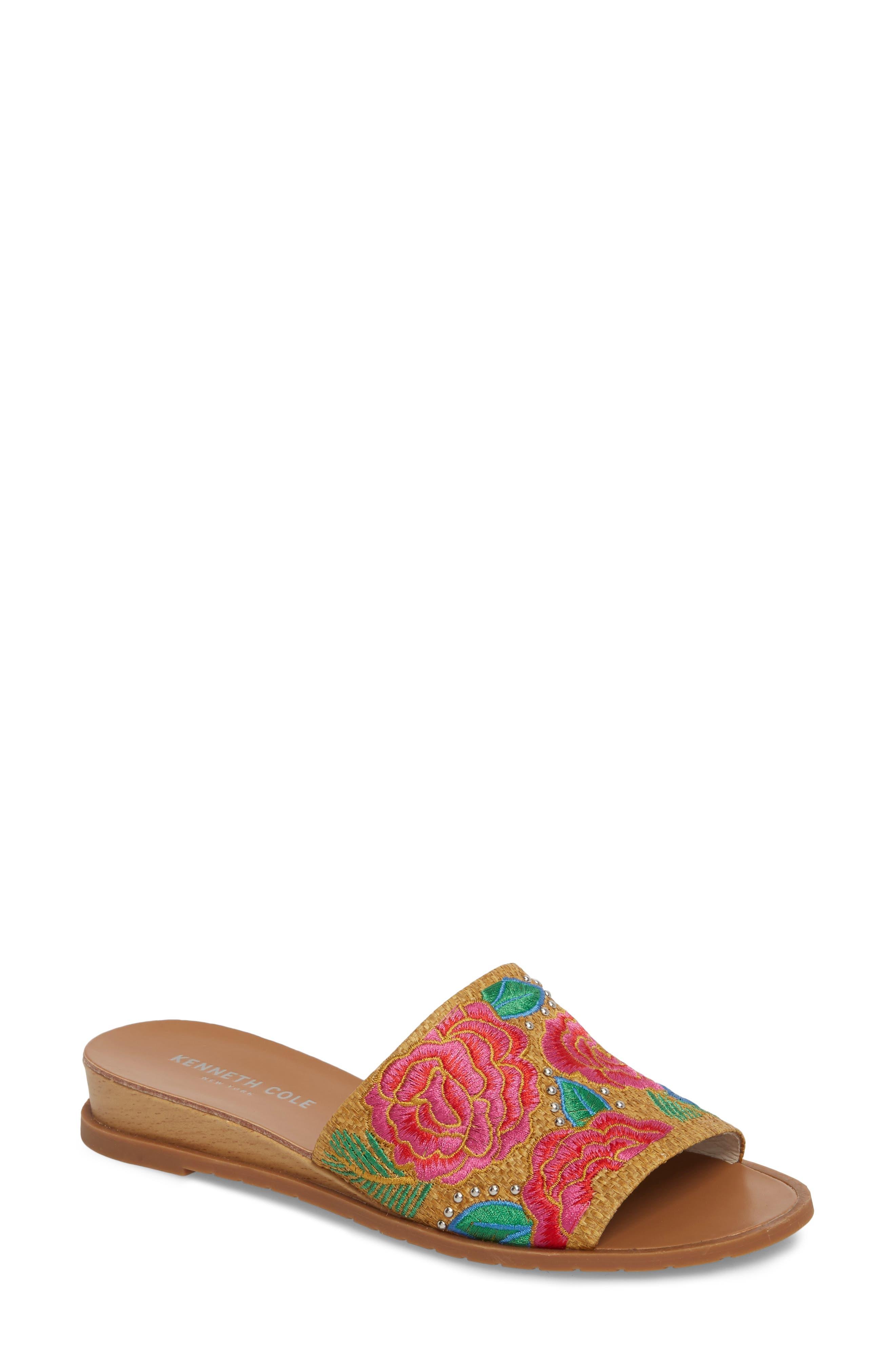 Joanne Flower Embroidered Slide Sandal,                             Main thumbnail 1, color,
