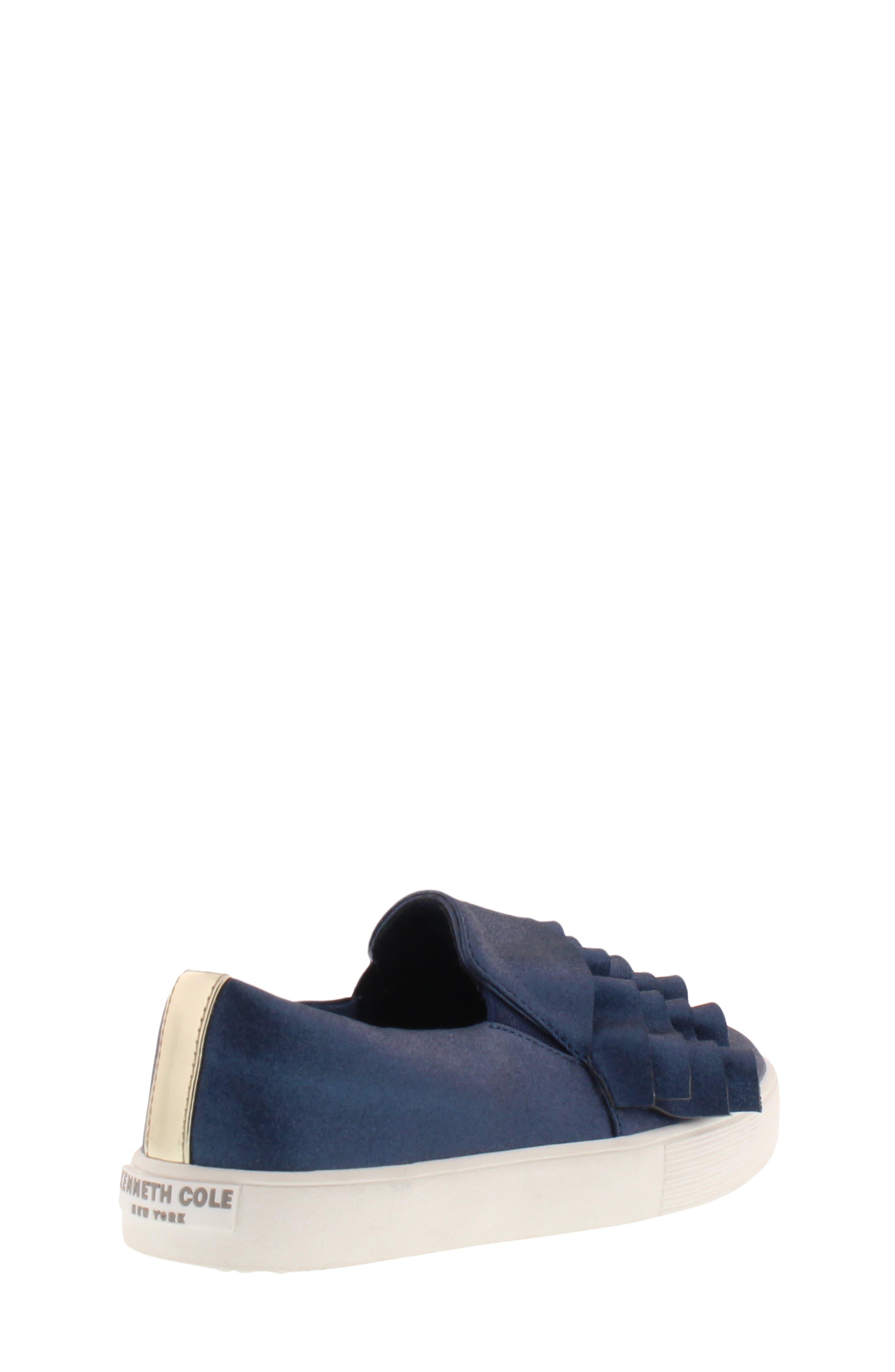 Shimmery Kam Ruffle Slip-On Sneaker,                             Alternate thumbnail 2, color,                             NAVY