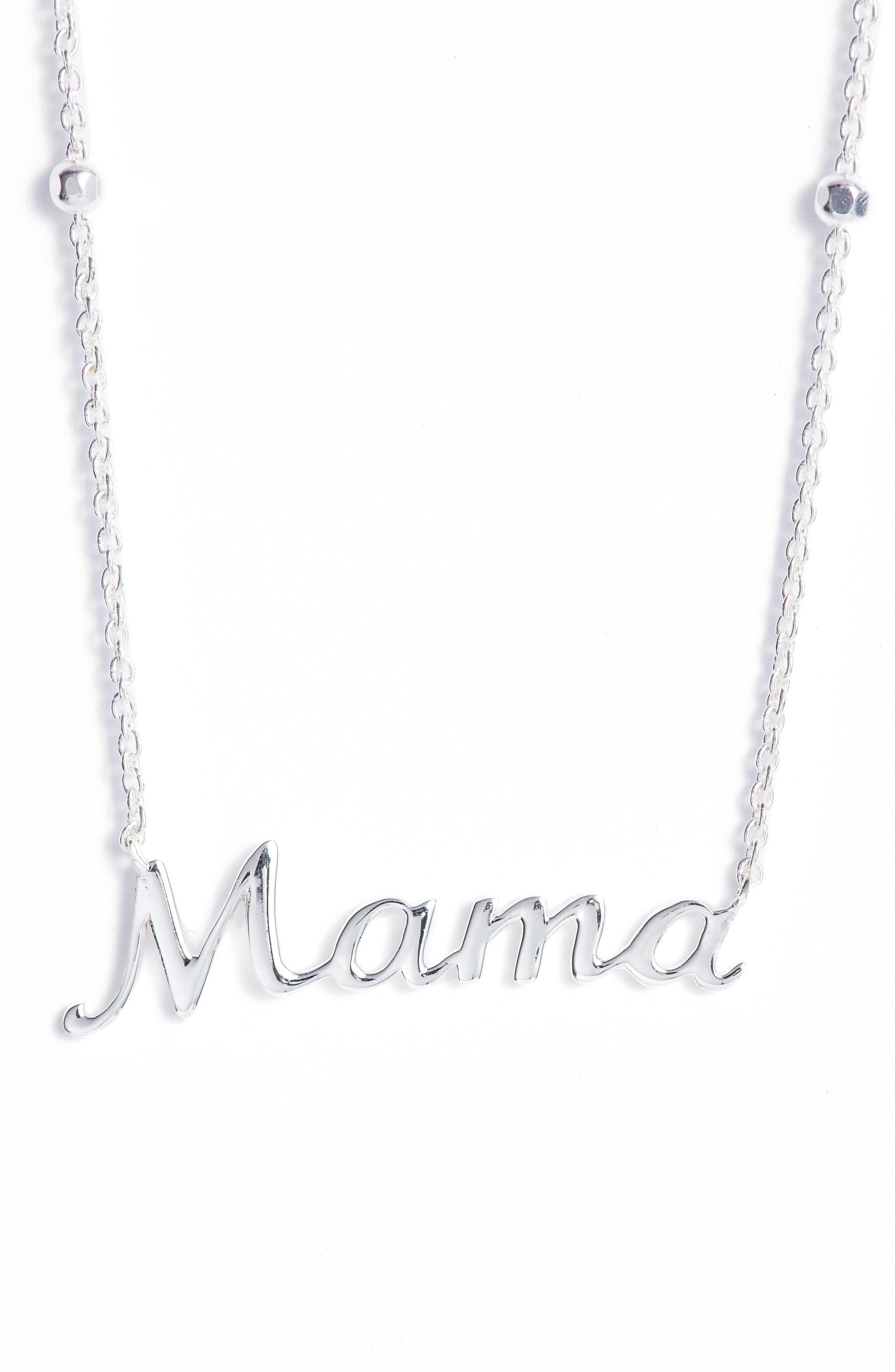 Mama Pendant Necklace,                         Main,                         color, SILVER