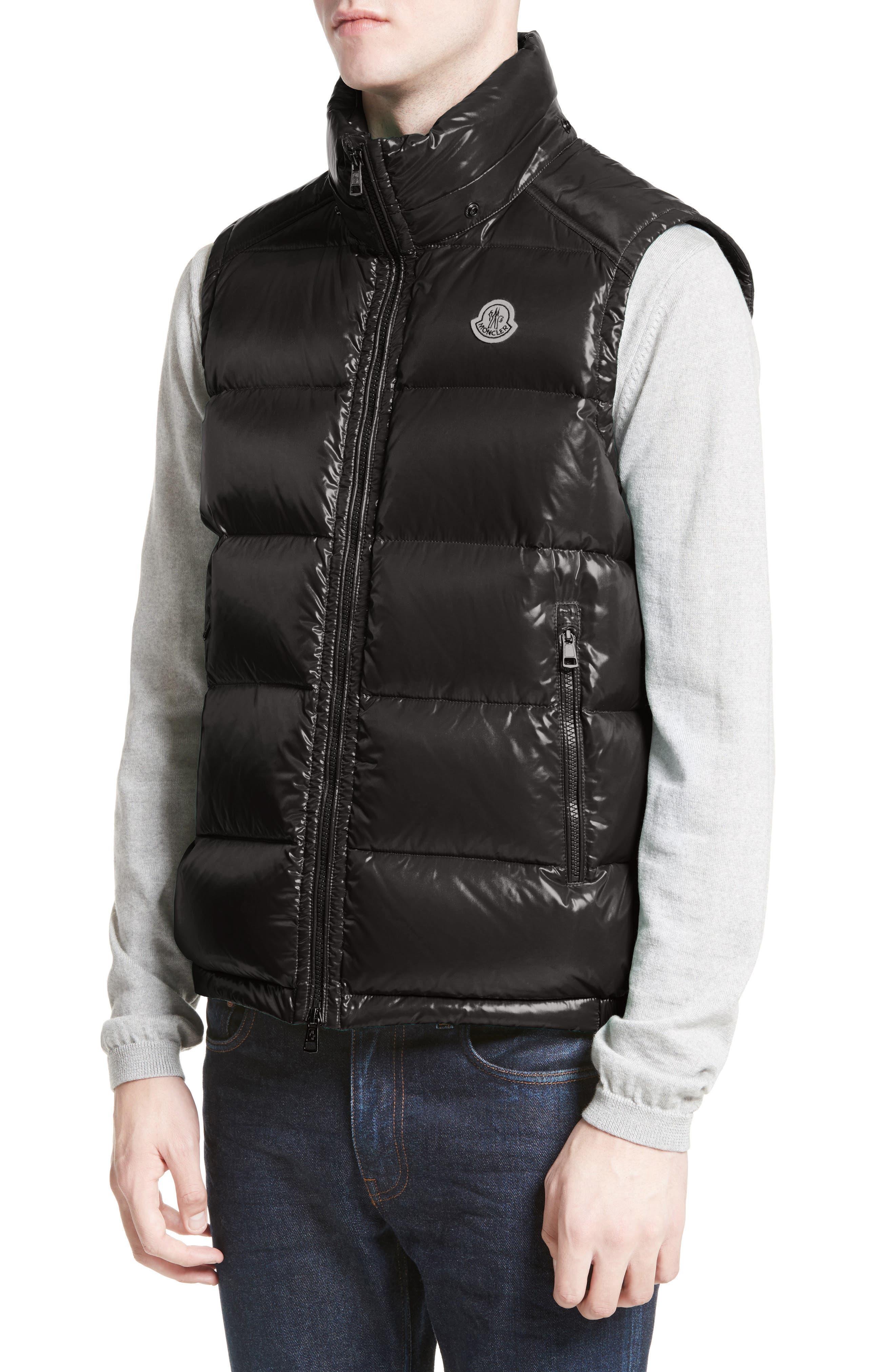 Lacet Lacquered Hooded Down Vest,                             Alternate thumbnail 4, color,                             BLACK