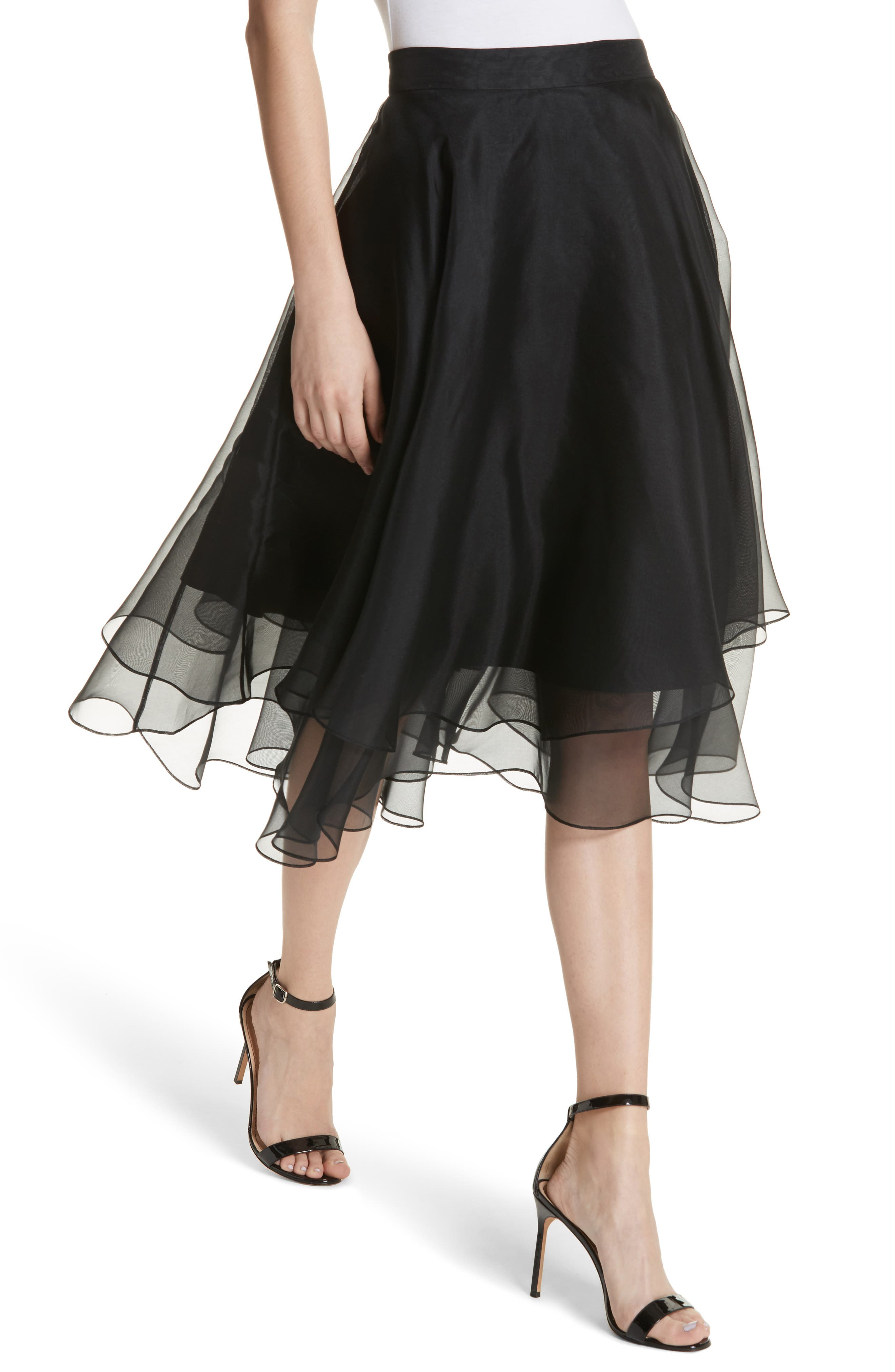 Layered Organza A-Line Skirt,                             Alternate thumbnail 4, color,                             001