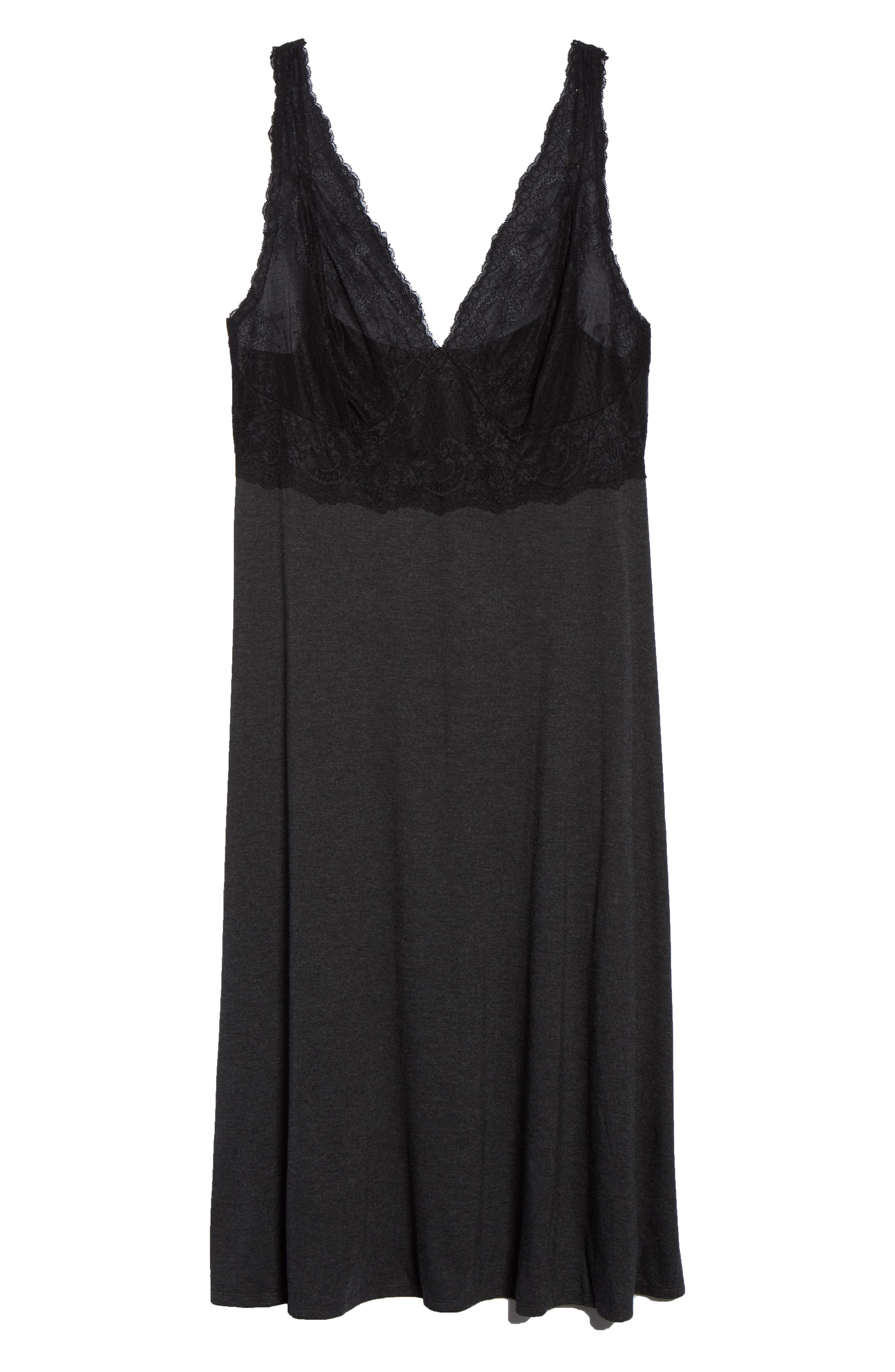 Luxe Shangri-La Nightgown,                             Alternate thumbnail 6, color,                             GREY WITH BLACK