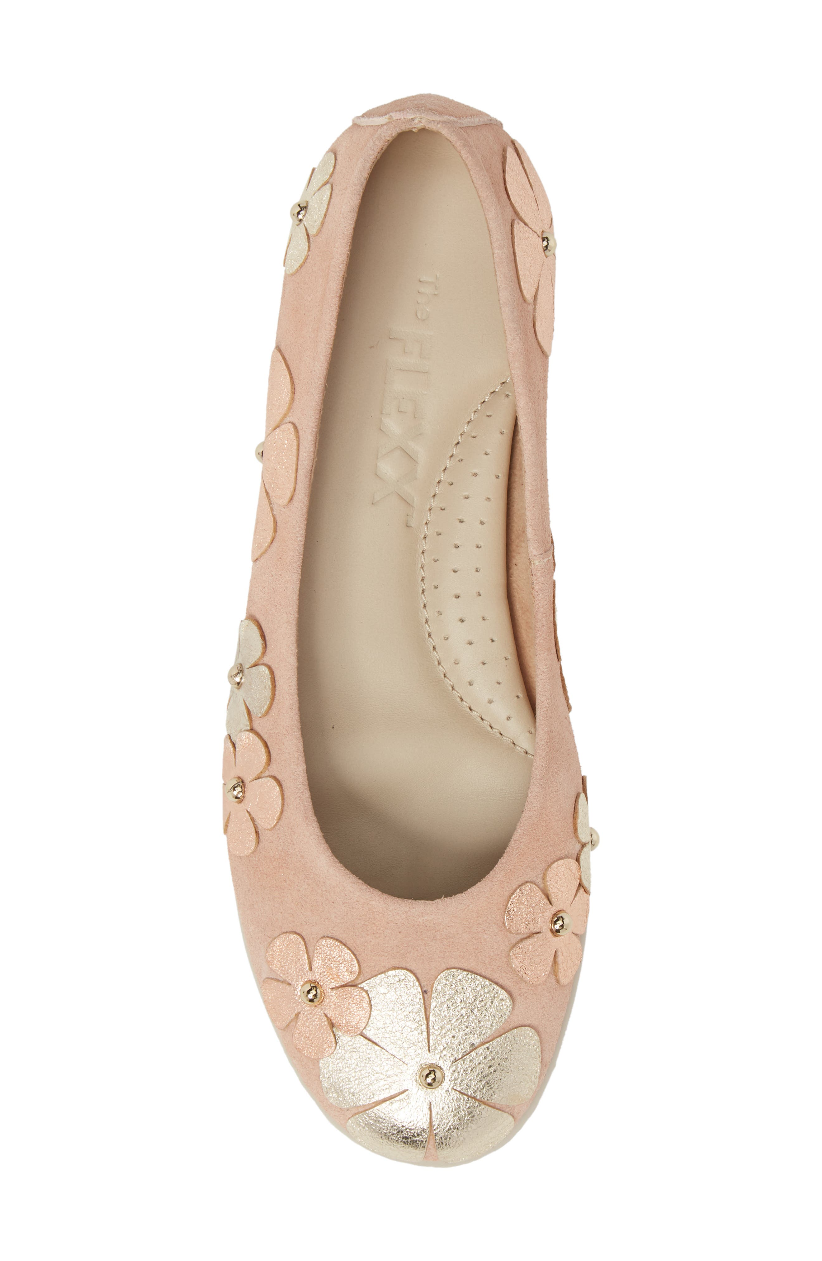 Miss Hippie Ballerina Flat,                             Alternate thumbnail 5, color,                             ROSE GOLD LEATHER