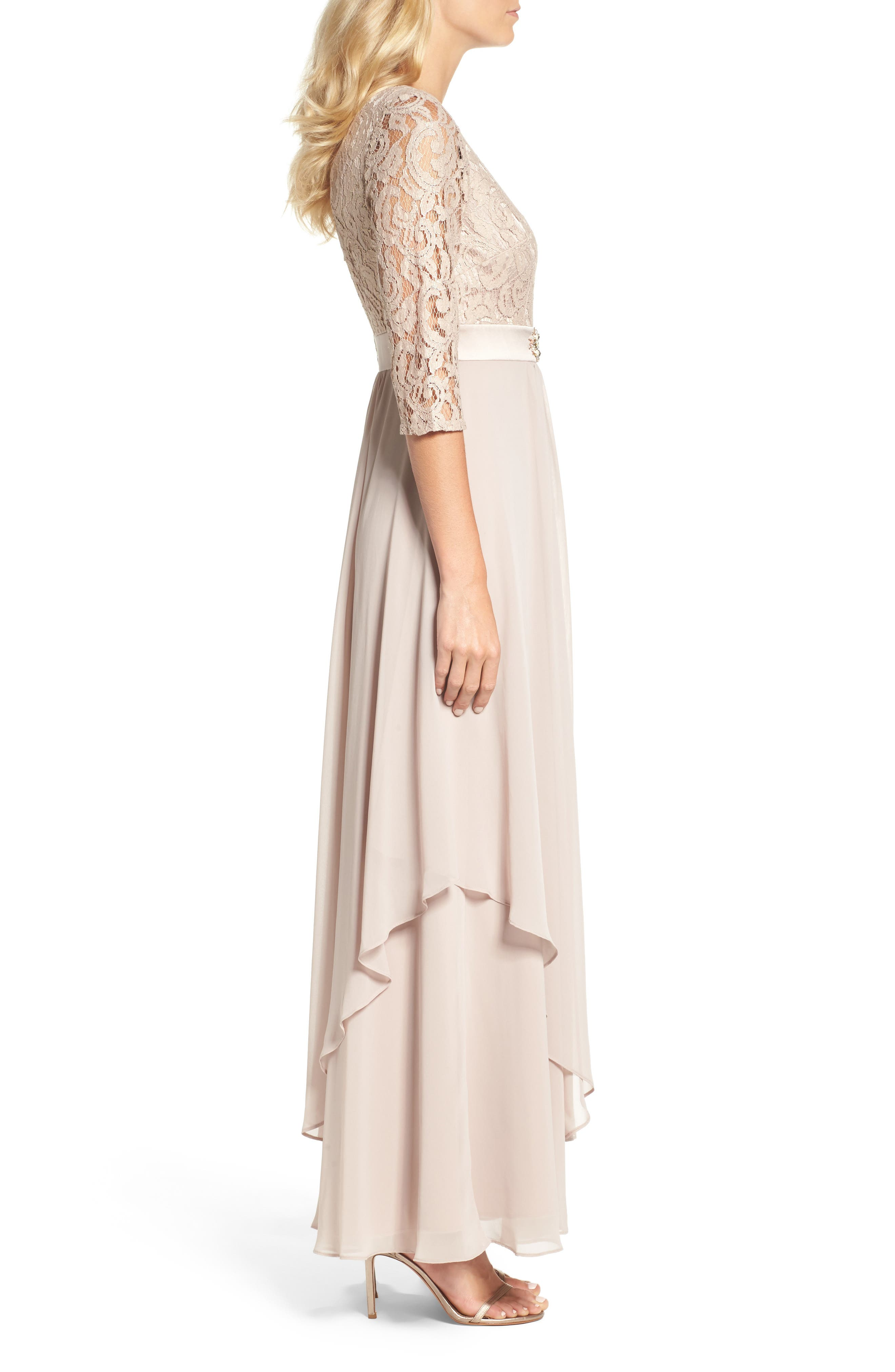 Embellished Lace & Chiffon Gown,                             Alternate thumbnail 4, color,                             256