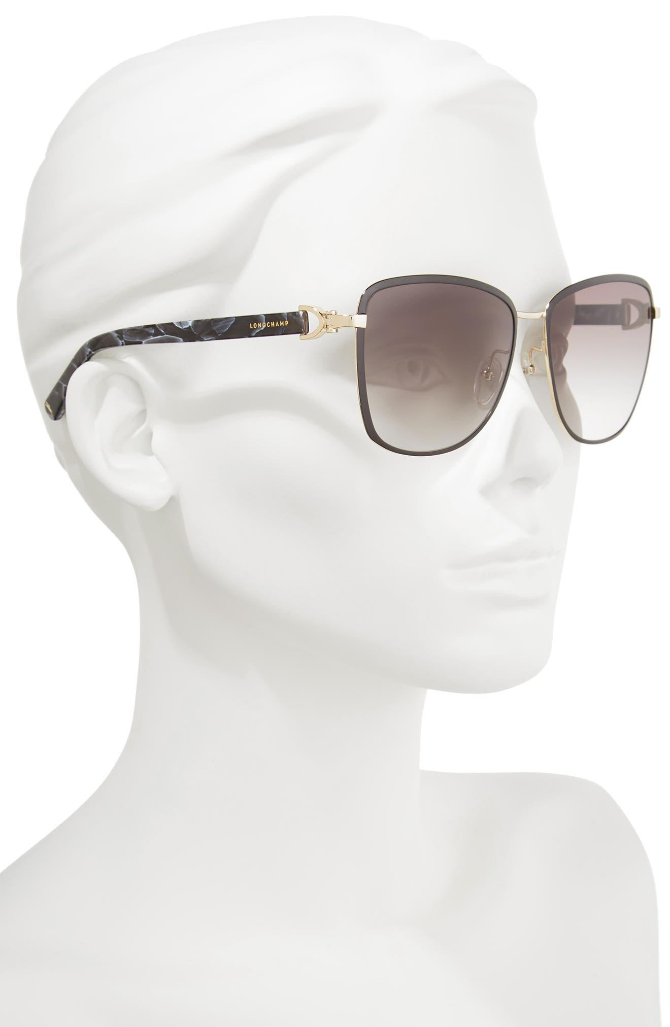 58mm Metal Sunglasses,                             Alternate thumbnail 2, color,                             GOLD/ BLACK
