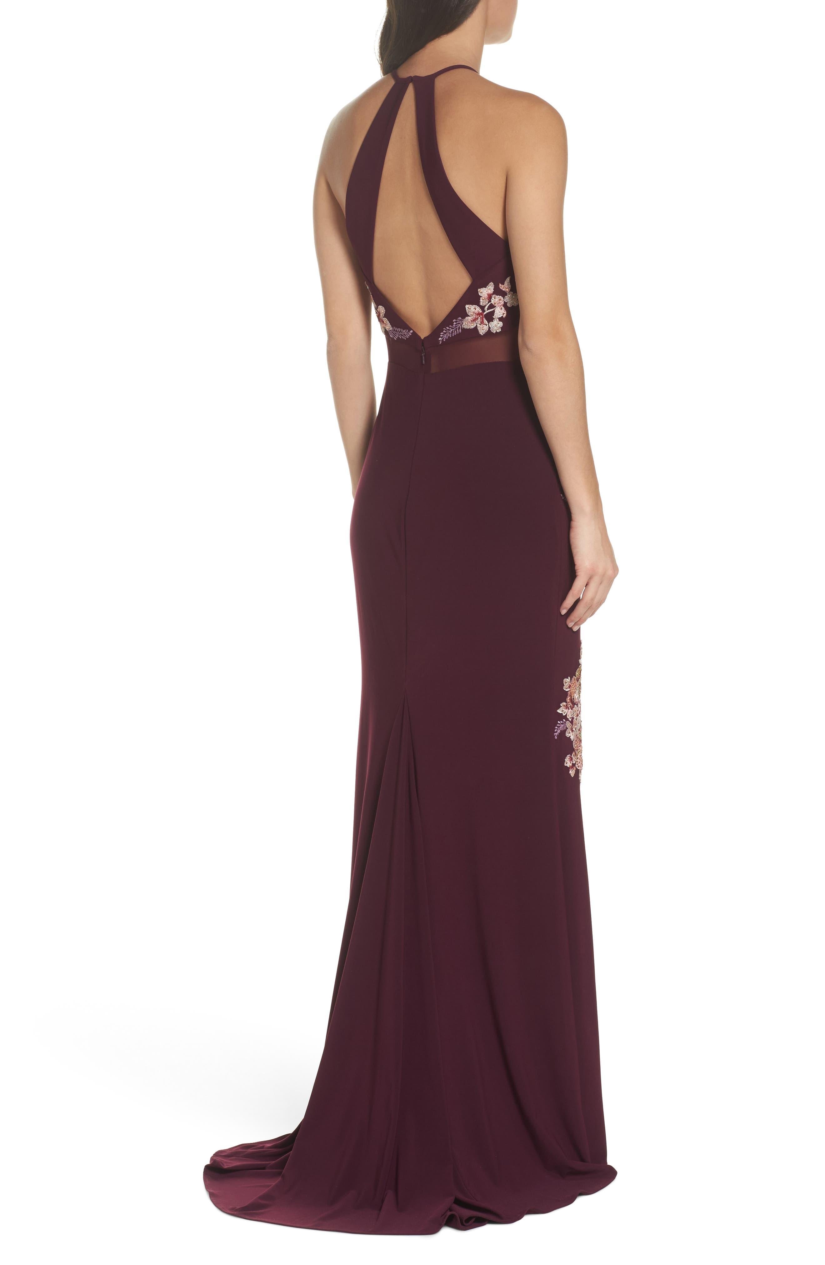 Embellished Floral Halter Gown,                             Alternate thumbnail 2, color,                             930