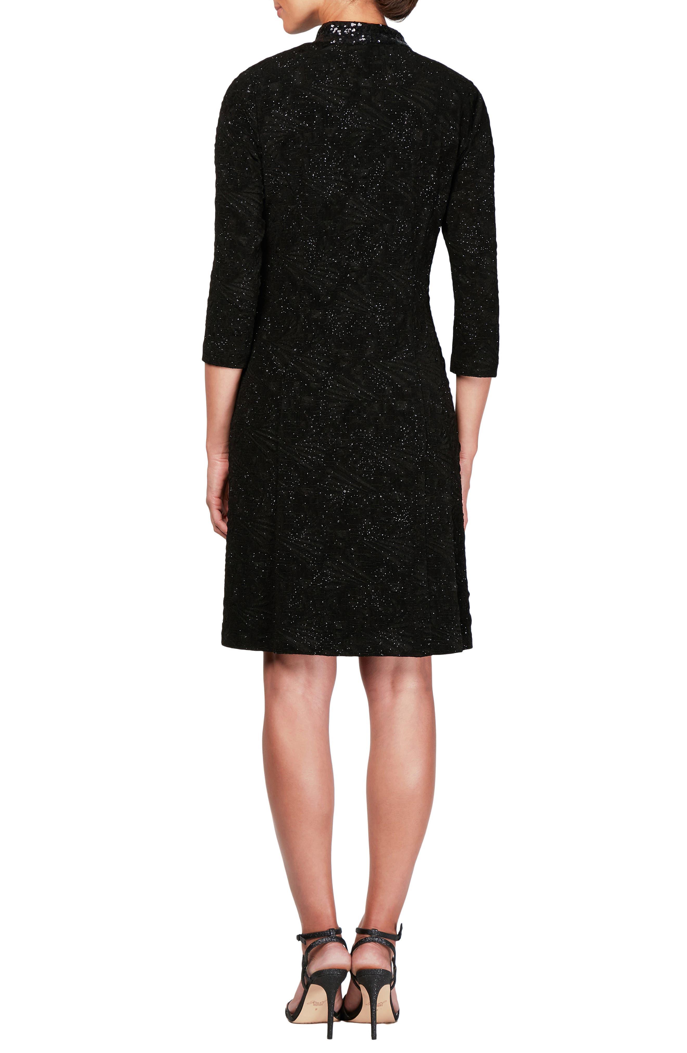 Sequin Shift Dress with Jacket,                             Alternate thumbnail 2, color,                             BLACK