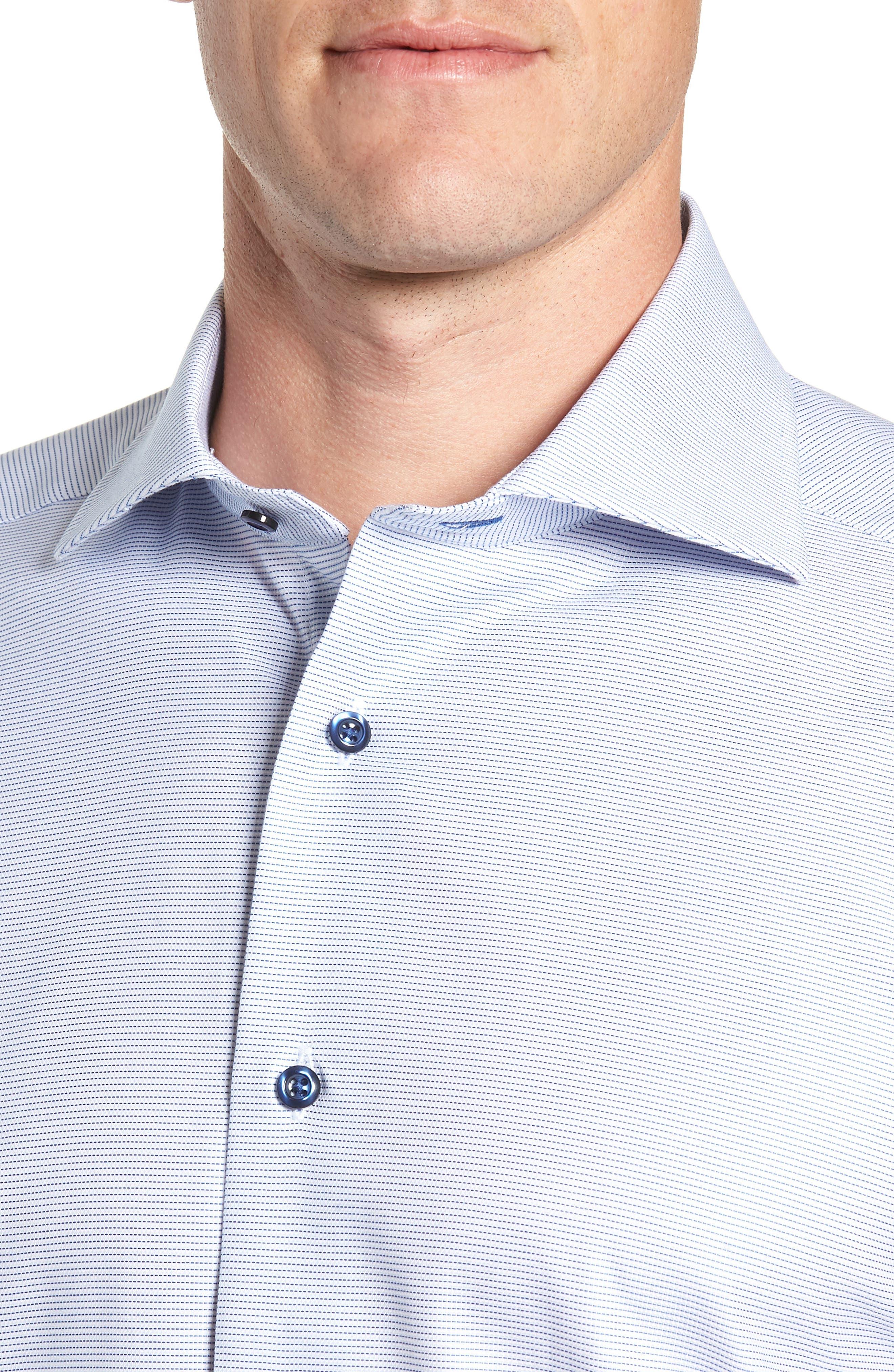 Trim Fit Stripe Dress Shirt,                             Alternate thumbnail 2, color,                             BLUE