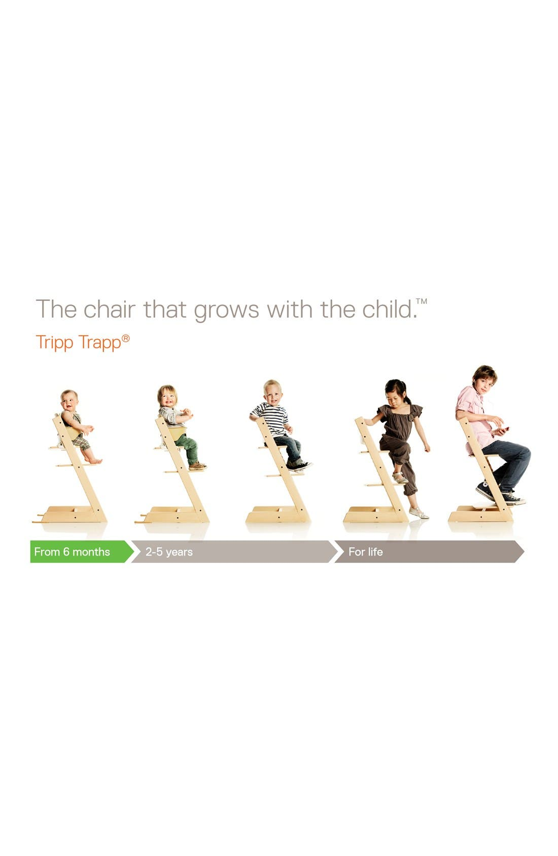 'Tripp Trapp<sup>®</sup>' Chair, Baby Set, Cushion & Tray Set,                             Alternate thumbnail 3, color,                             WHITE WITH FOREST GREEN