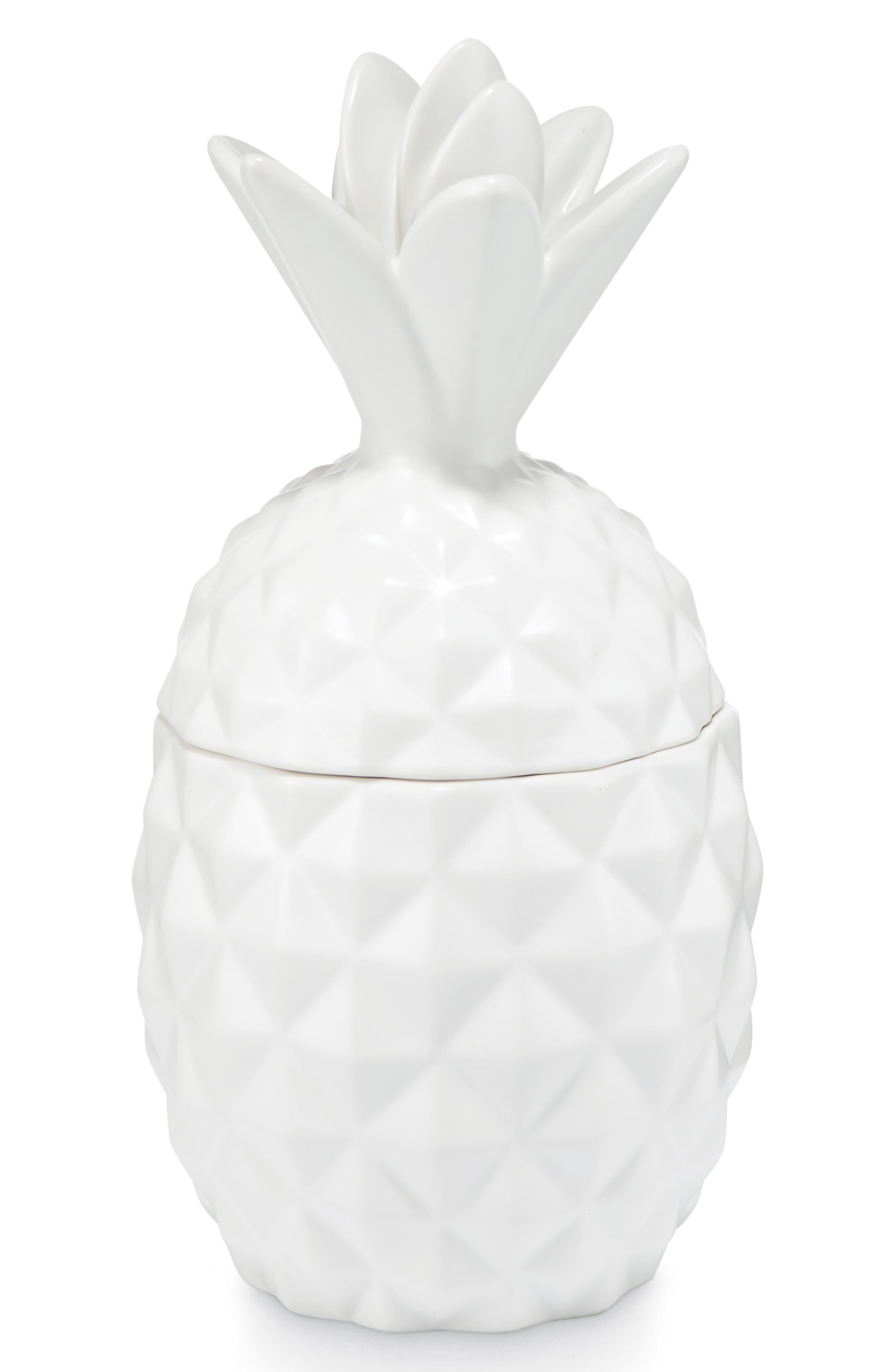 Ceramic Pineapple Jar Candle,                         Main,                         color,