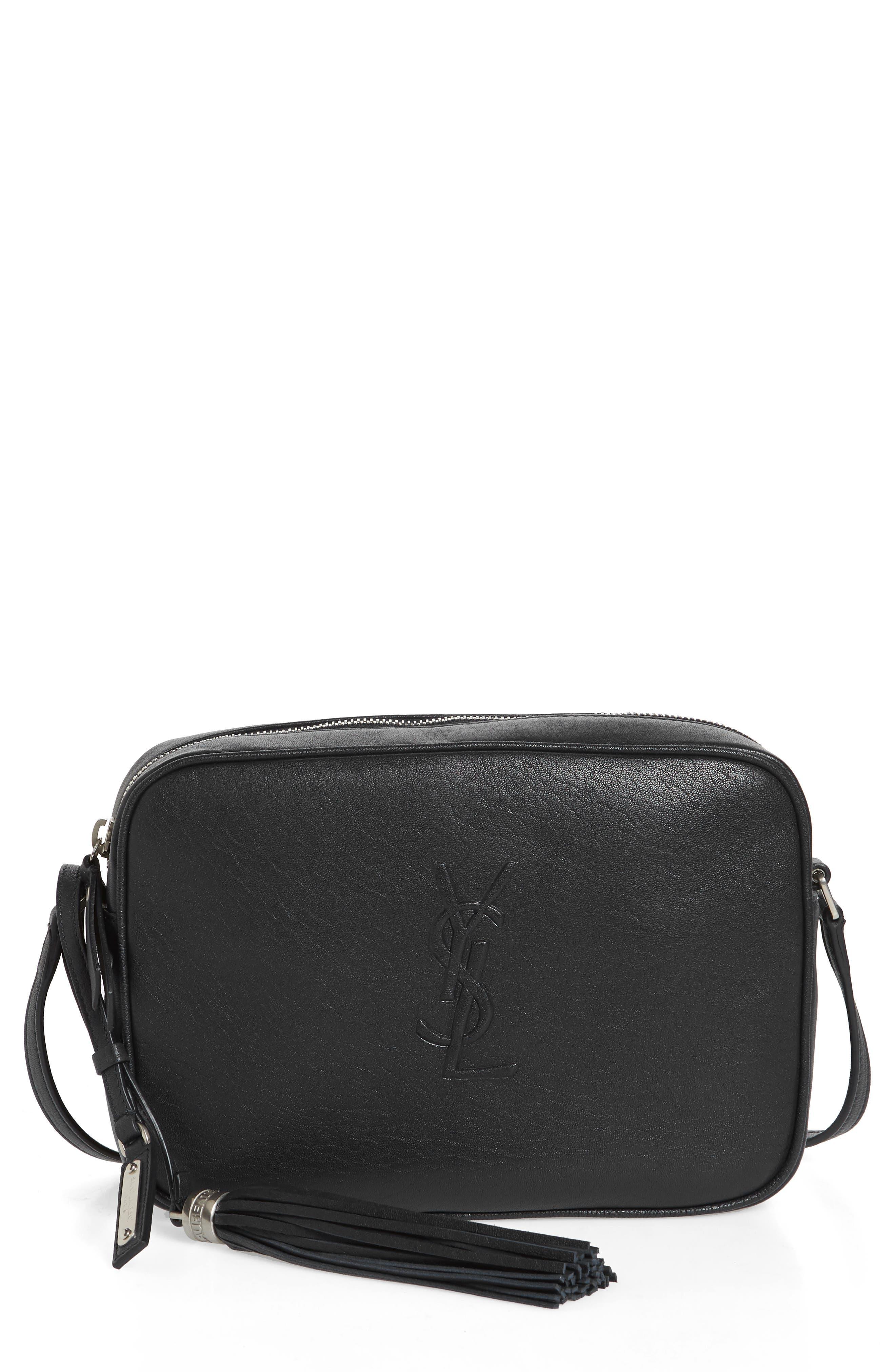 Small Mono Leather Camera Bag,                             Main thumbnail 1, color,                             NERO