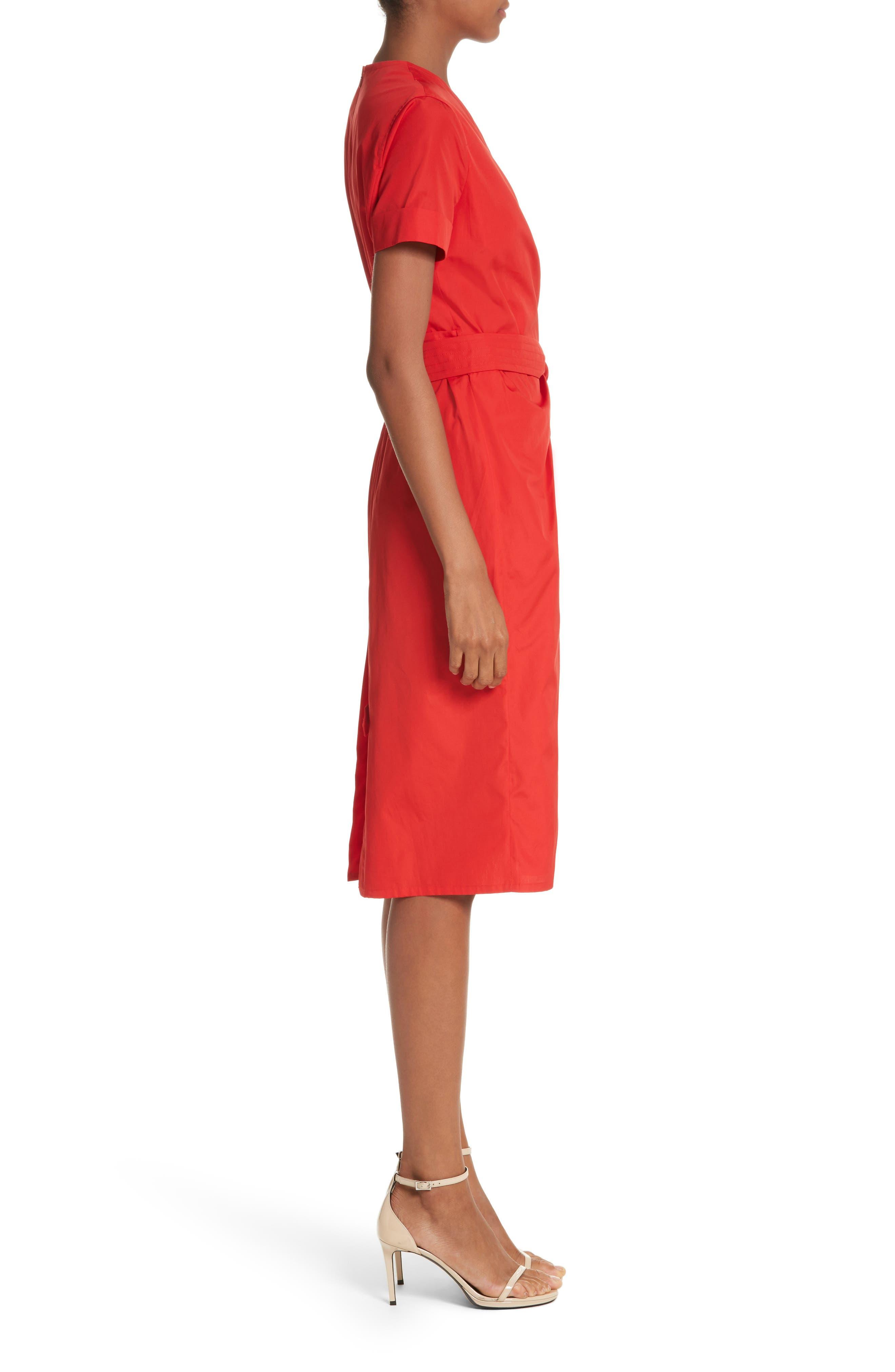 Dalmine Cotton Wrap Dress,                             Alternate thumbnail 3, color,                             RED