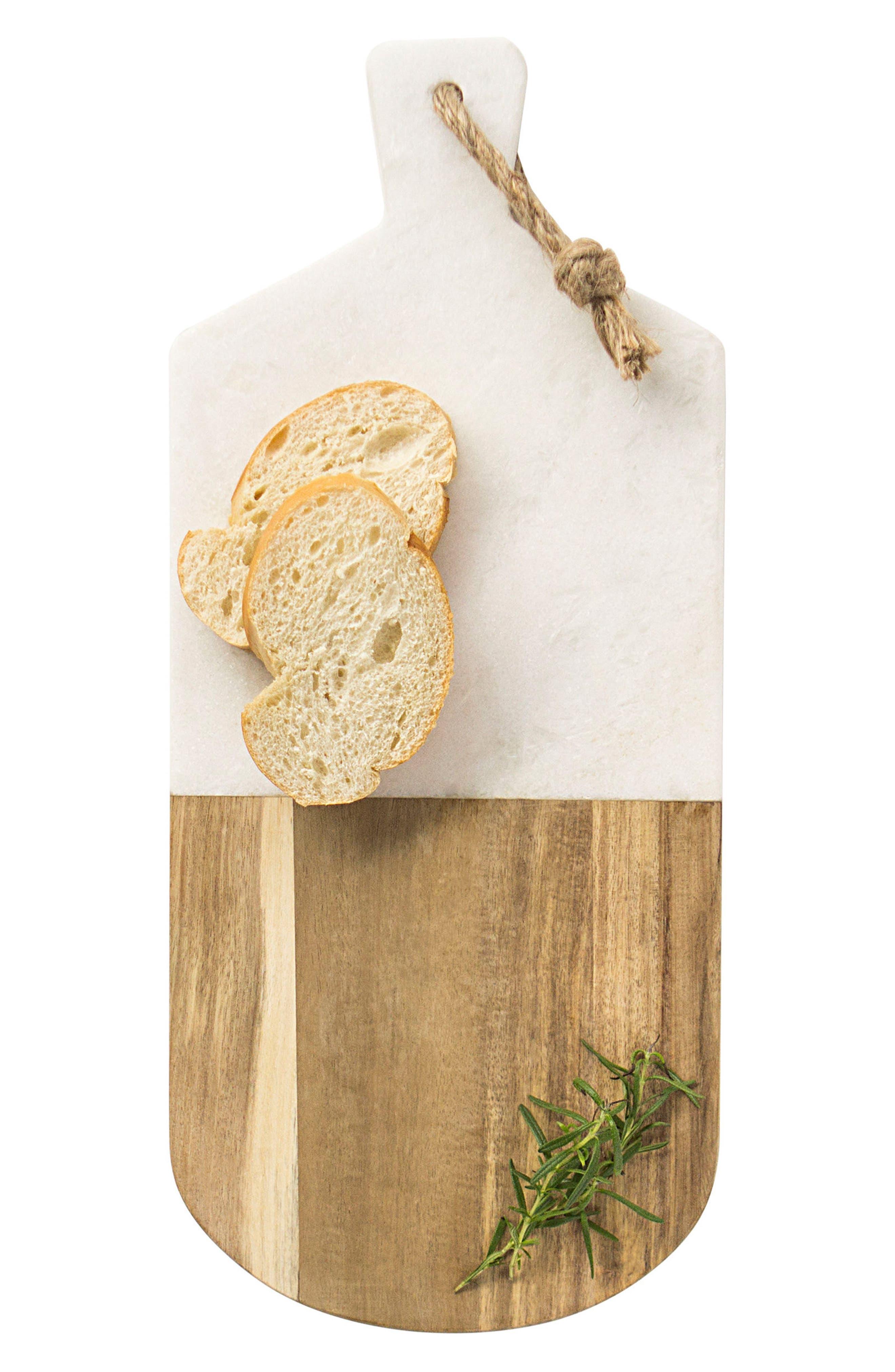 Monogram Marble & Wood Serving Board,                         Main,                         color, BROWN
