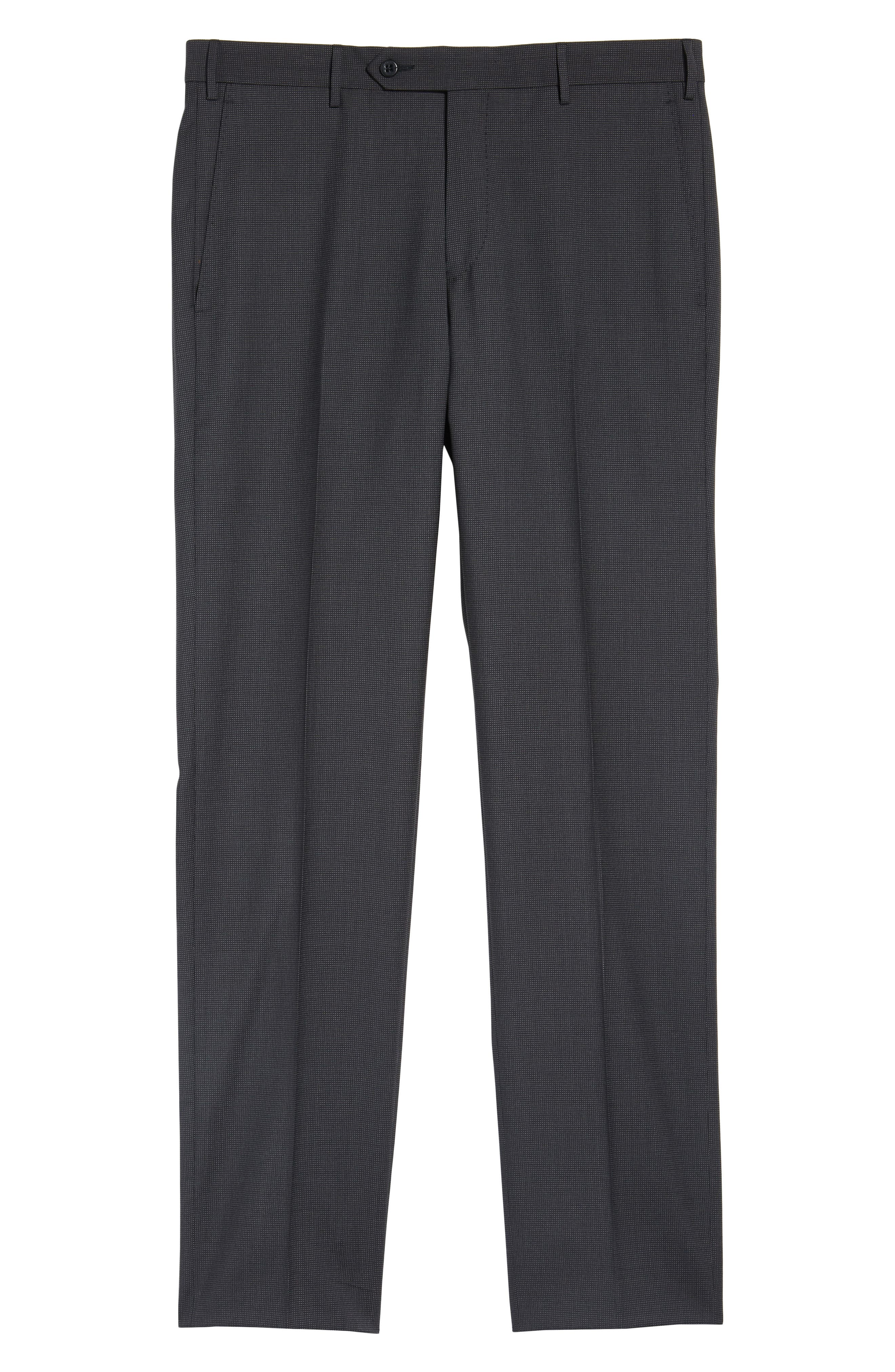 Parker Flat Front Pindot Wool Trousers,                             Alternate thumbnail 6, color,                             020
