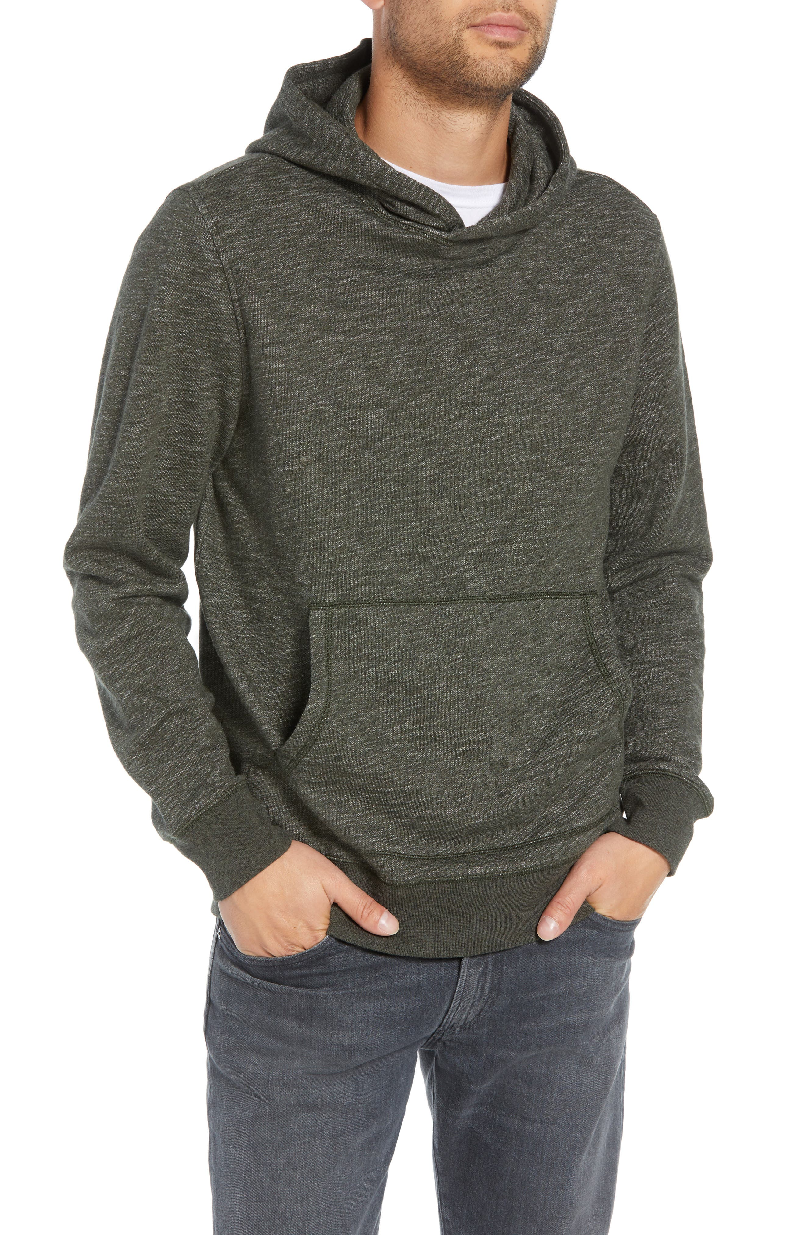 Regular Fit French Terry Pullover Hoodie,                             Main thumbnail 1, color,                             OLIVE DARK HEATHER