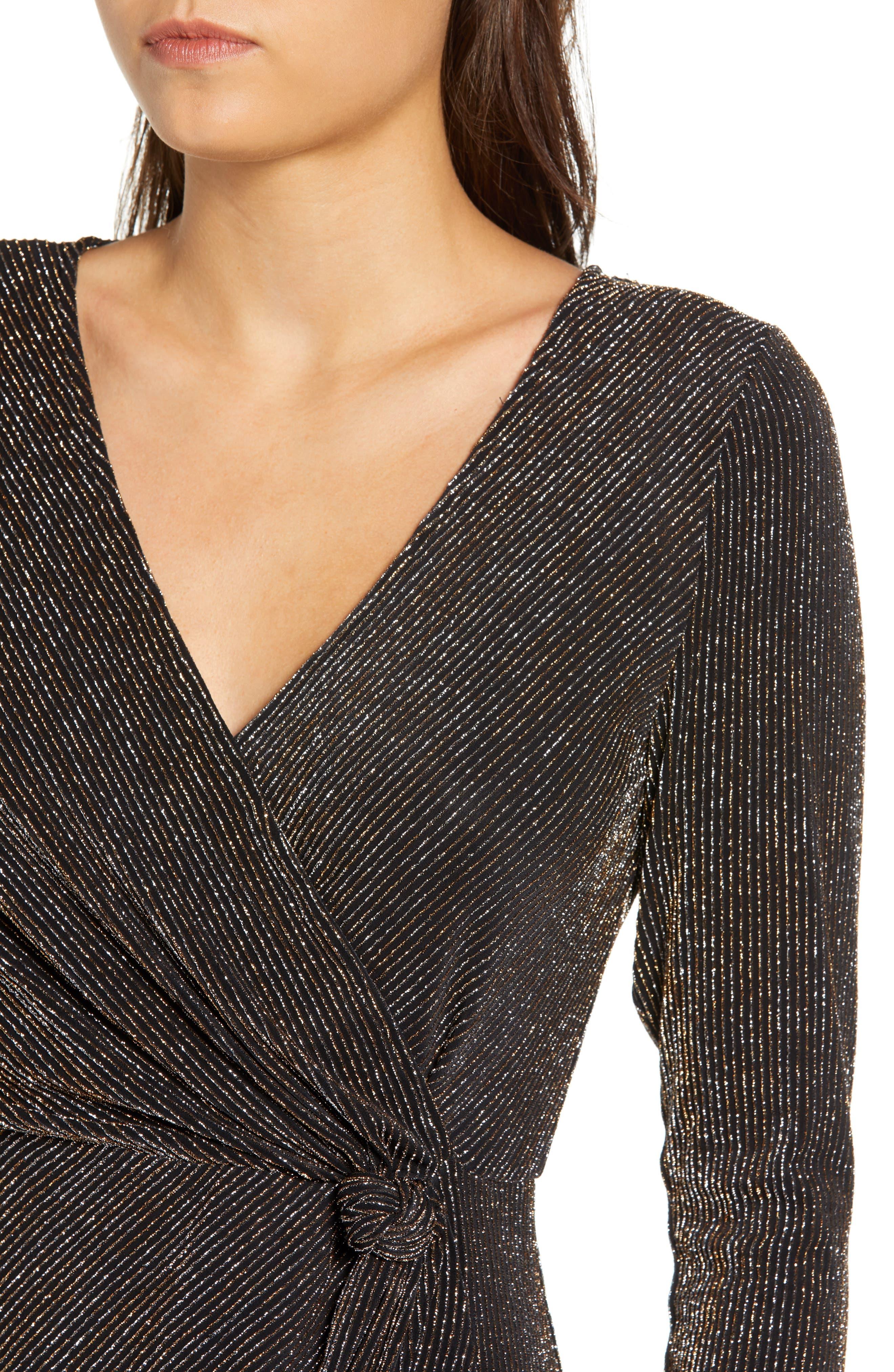 Metallic Sheath Dress,                             Alternate thumbnail 4, color,                             GOLD