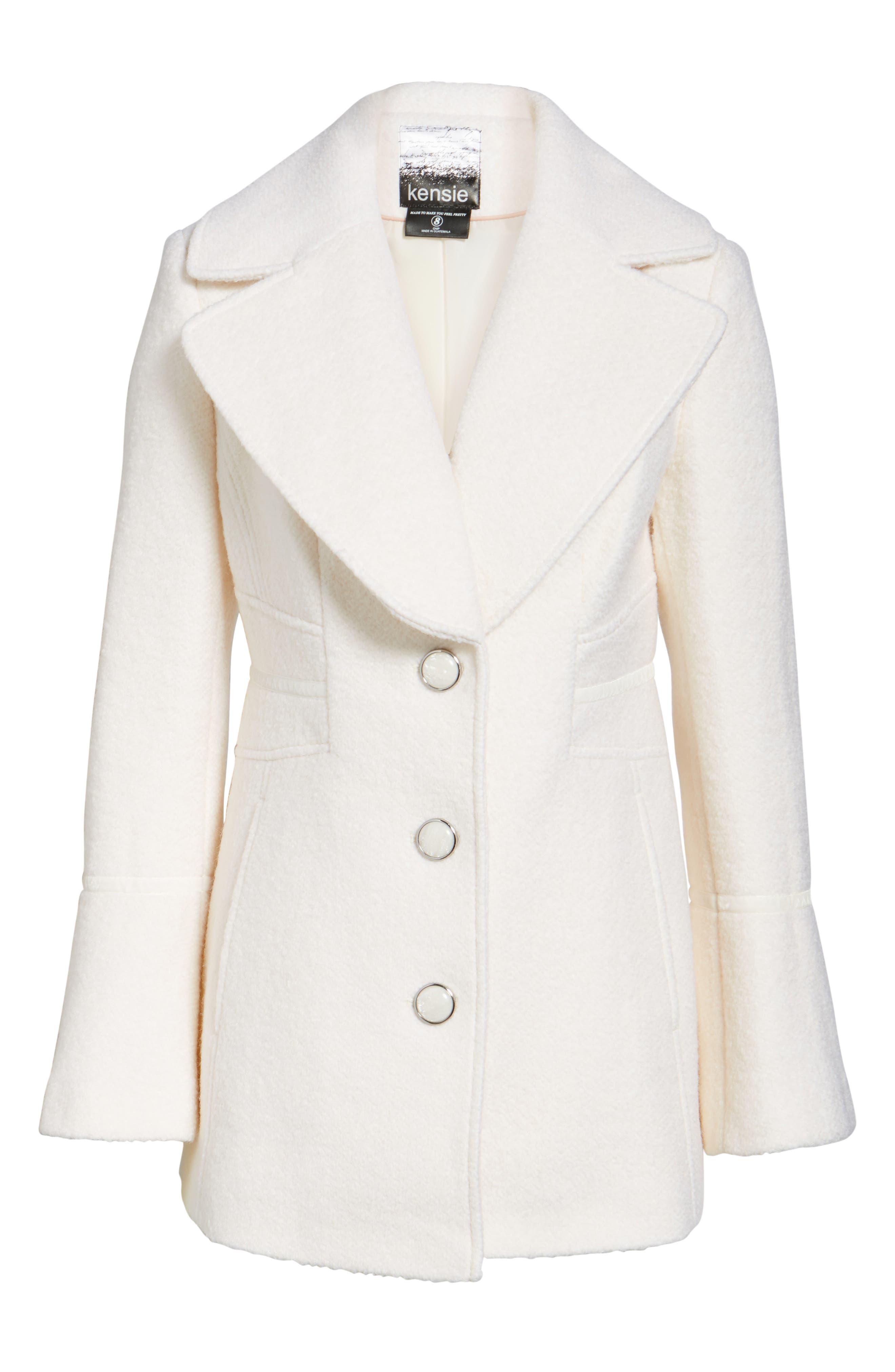 Velvet Trim Bell Sleeve Coat,                             Alternate thumbnail 5, color,                             101