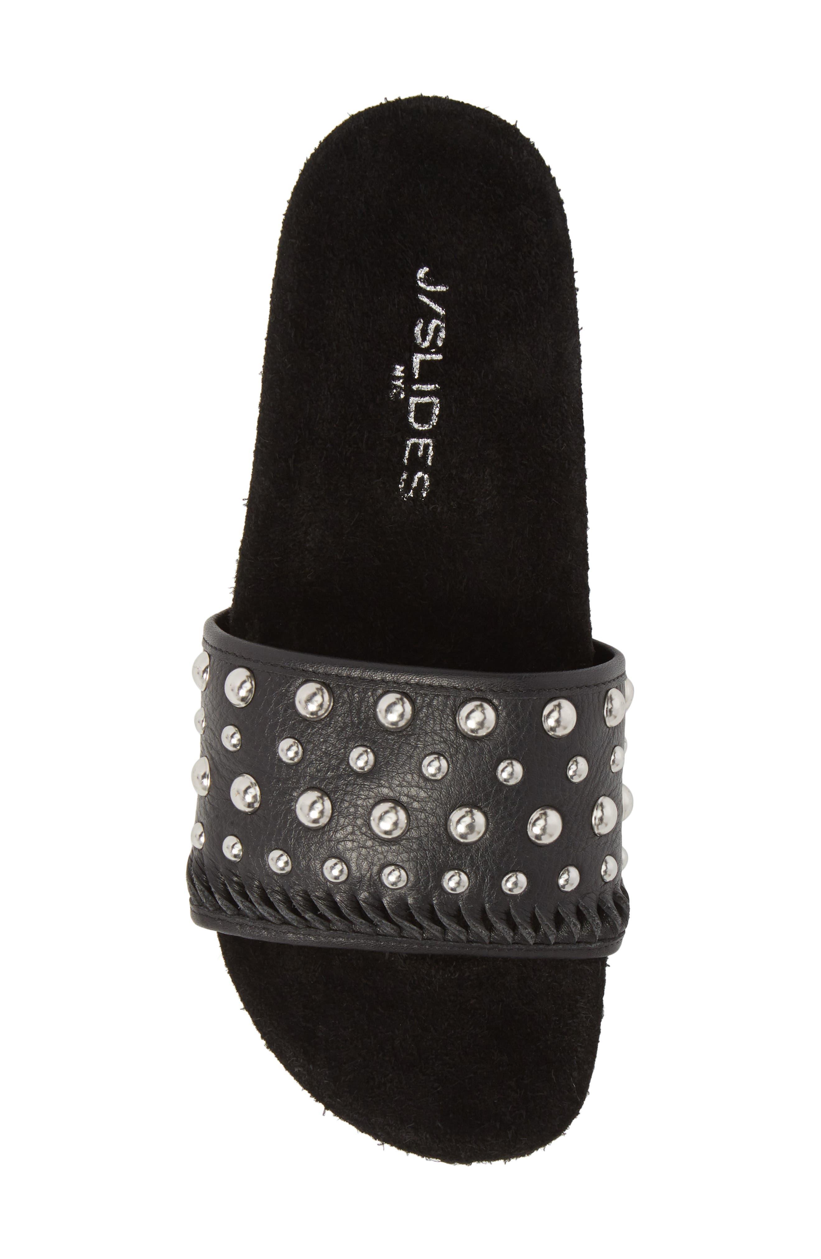 Nora Studded Slide Sandal,                             Alternate thumbnail 5, color,                             BLACK SUEDE