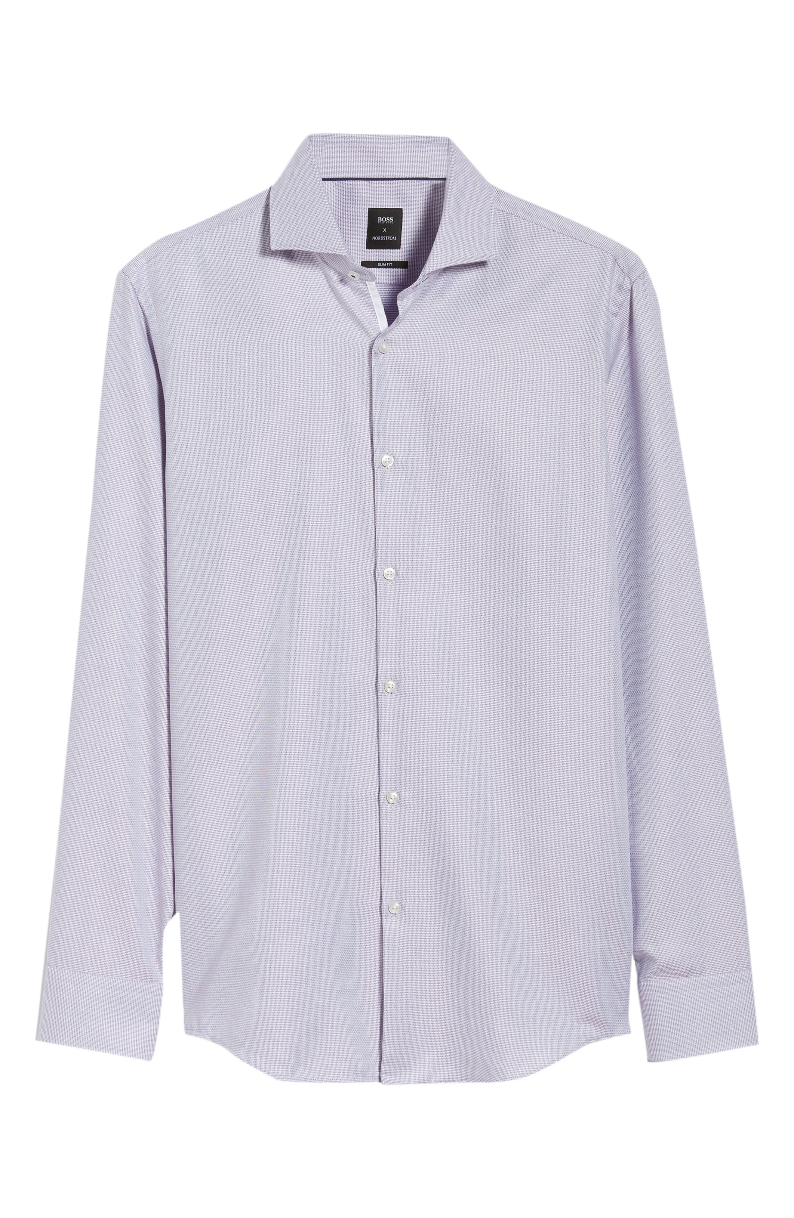 x Nordstrom Jerrin Slim Fit Solid Dress Shirt,                             Alternate thumbnail 5, color,                             RED