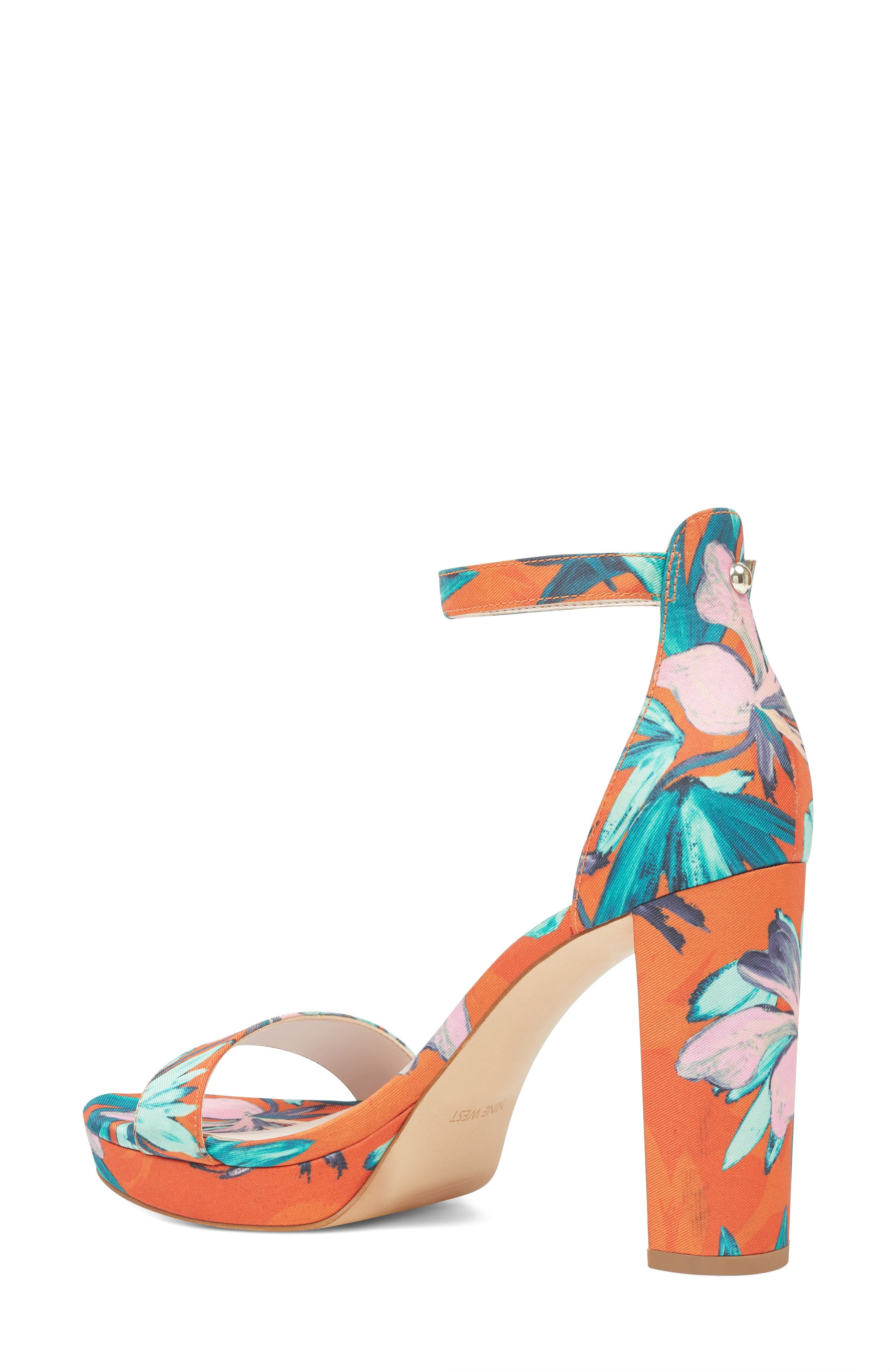 Dempsey Platform Sandal,                             Alternate thumbnail 2, color,                             ORANGE MULTI FABRIC