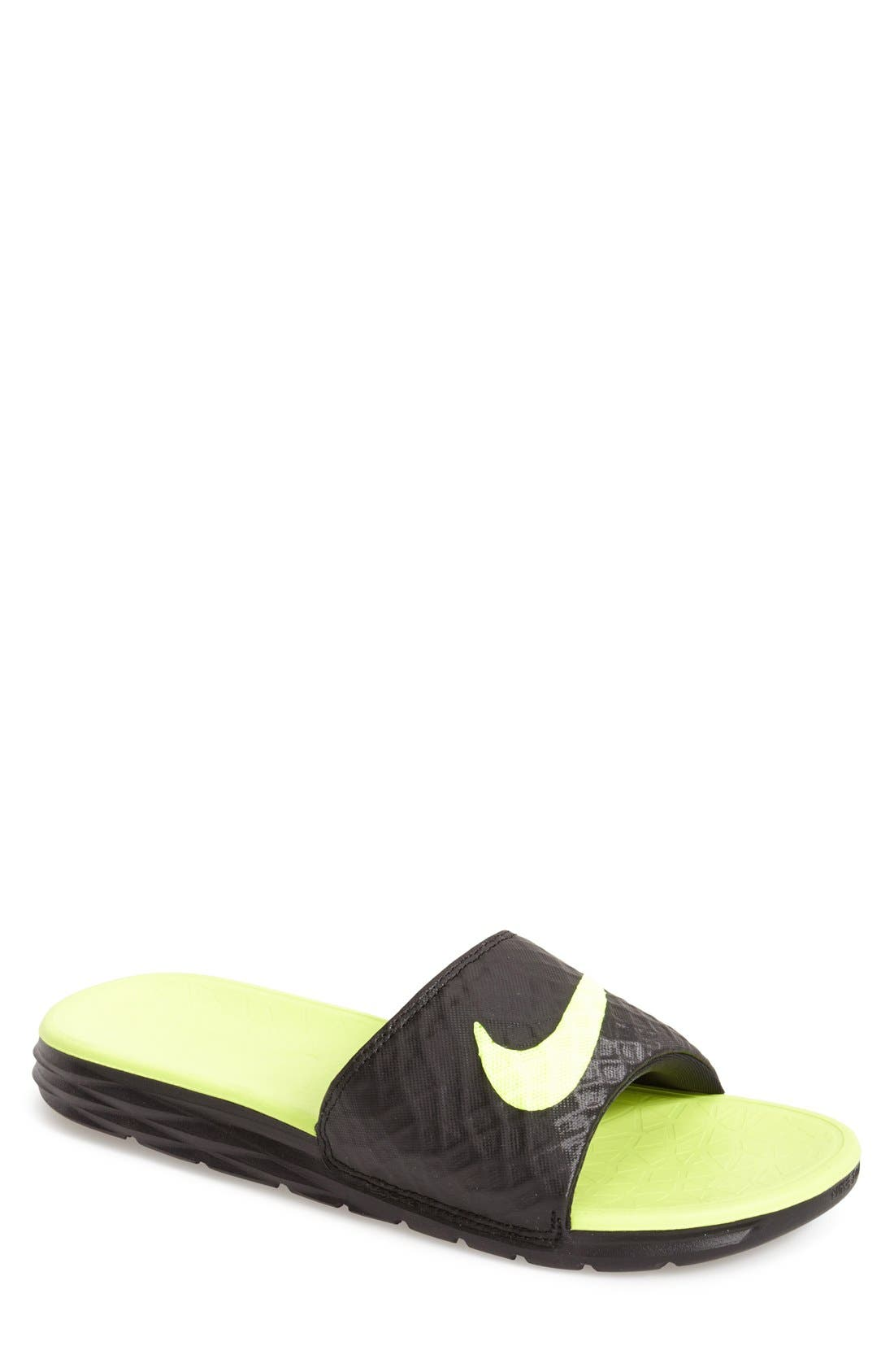 'Benassi Solarsoft 2' Slide Sandal,                             Main thumbnail 1, color,                             BLACK/ VOLT