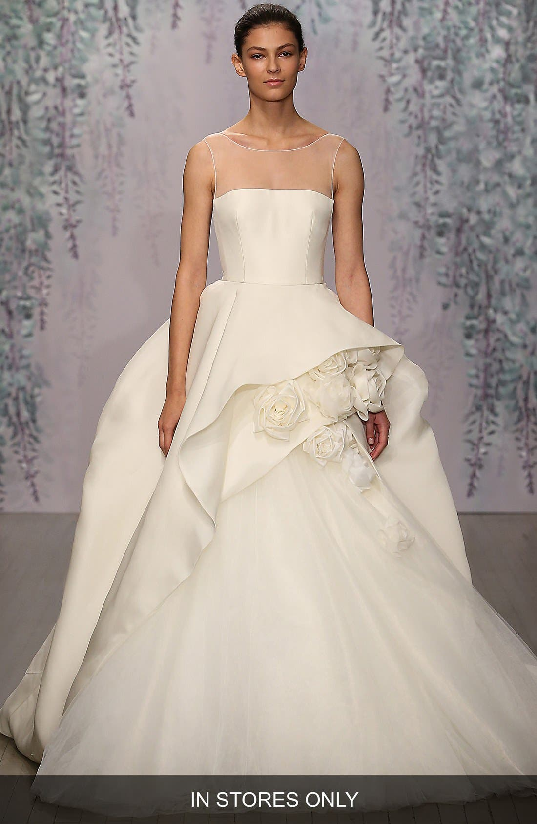 Rosette Detail Silk Ballgown Dress,                             Main thumbnail 1, color,                             IVORY