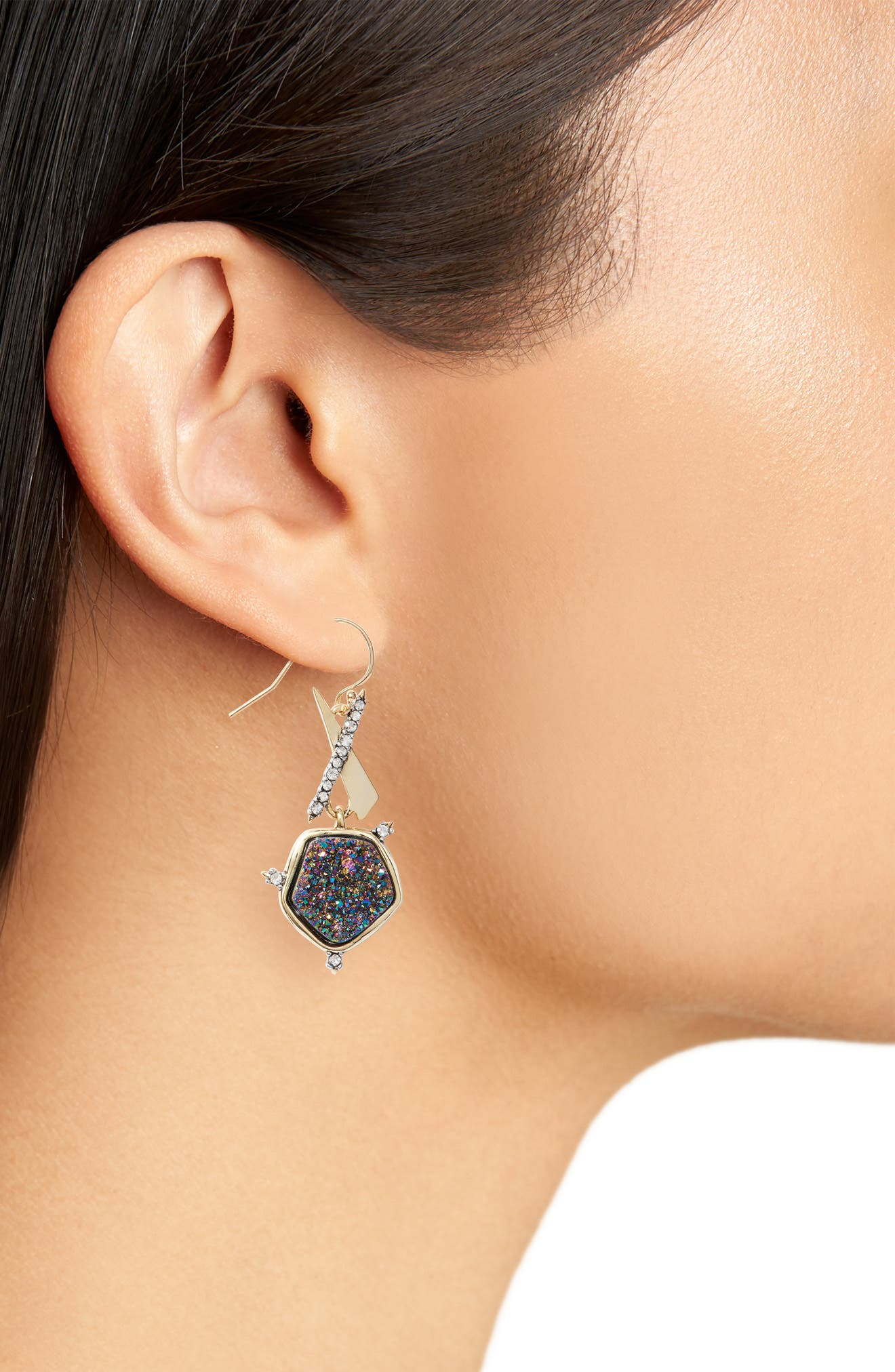 Drusy Drop Earrings,                             Alternate thumbnail 2, color,